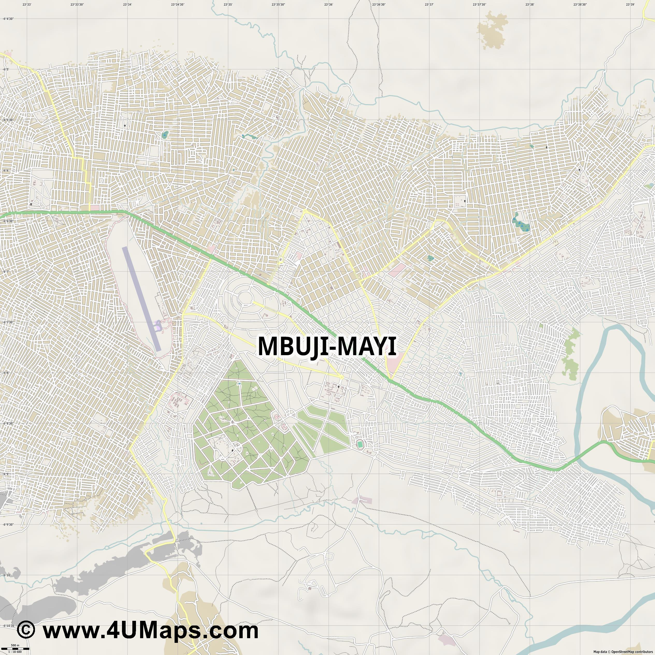 Mbuji Mayi  jpg ultra high detail preview vector city map