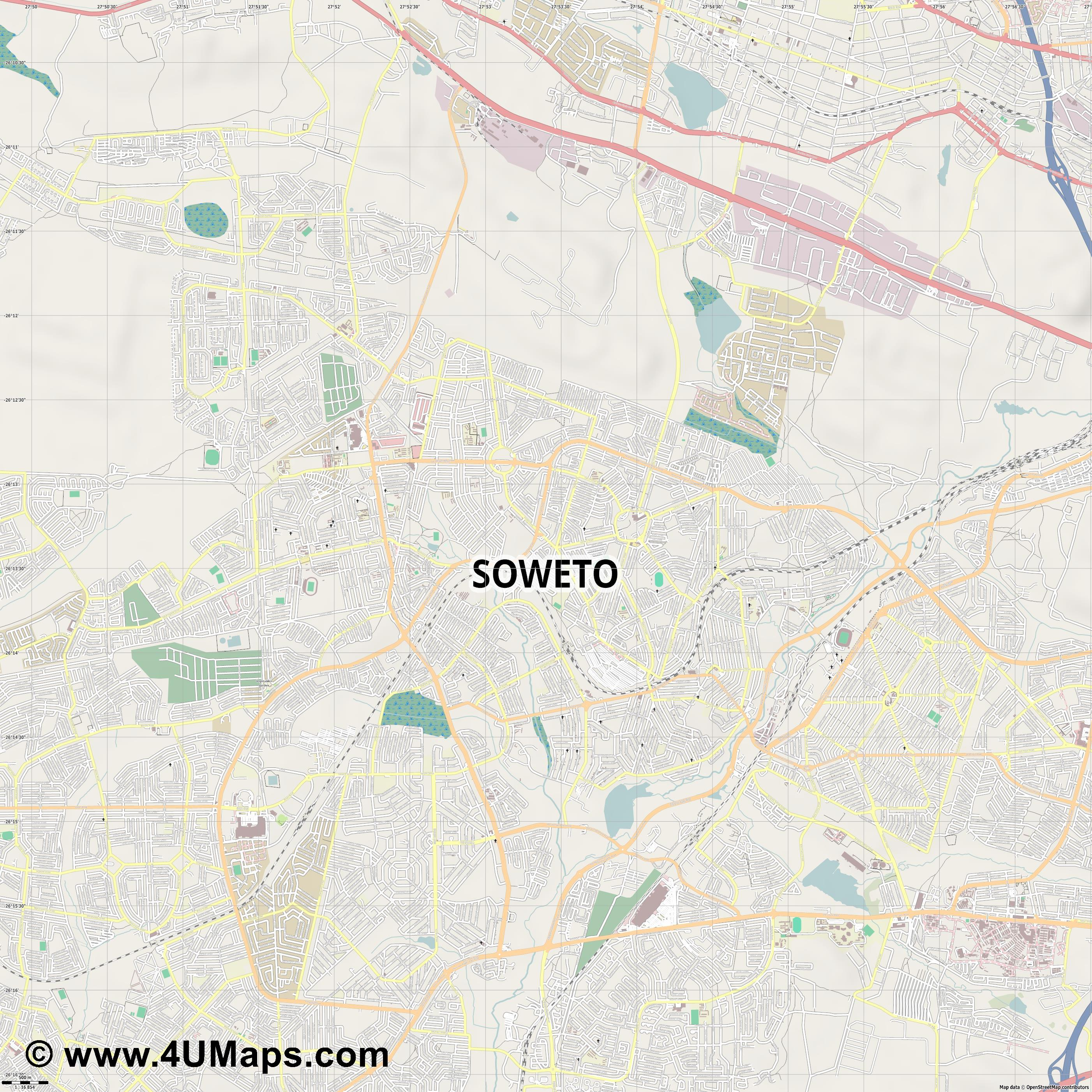 Soweto  jpg ultra high detail preview vector city map