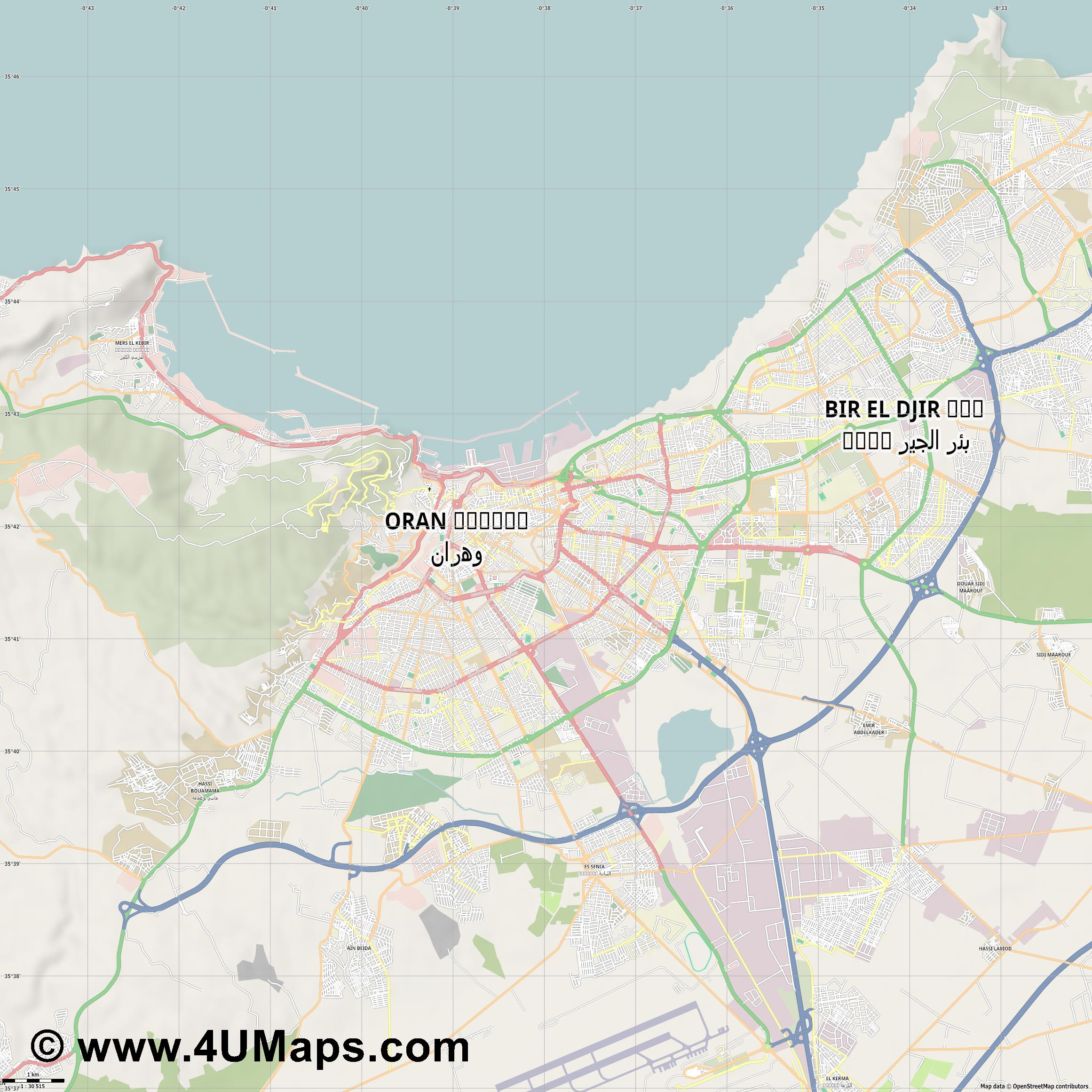 Oran Orán Orano  jpg high detail, large area preview vector city map