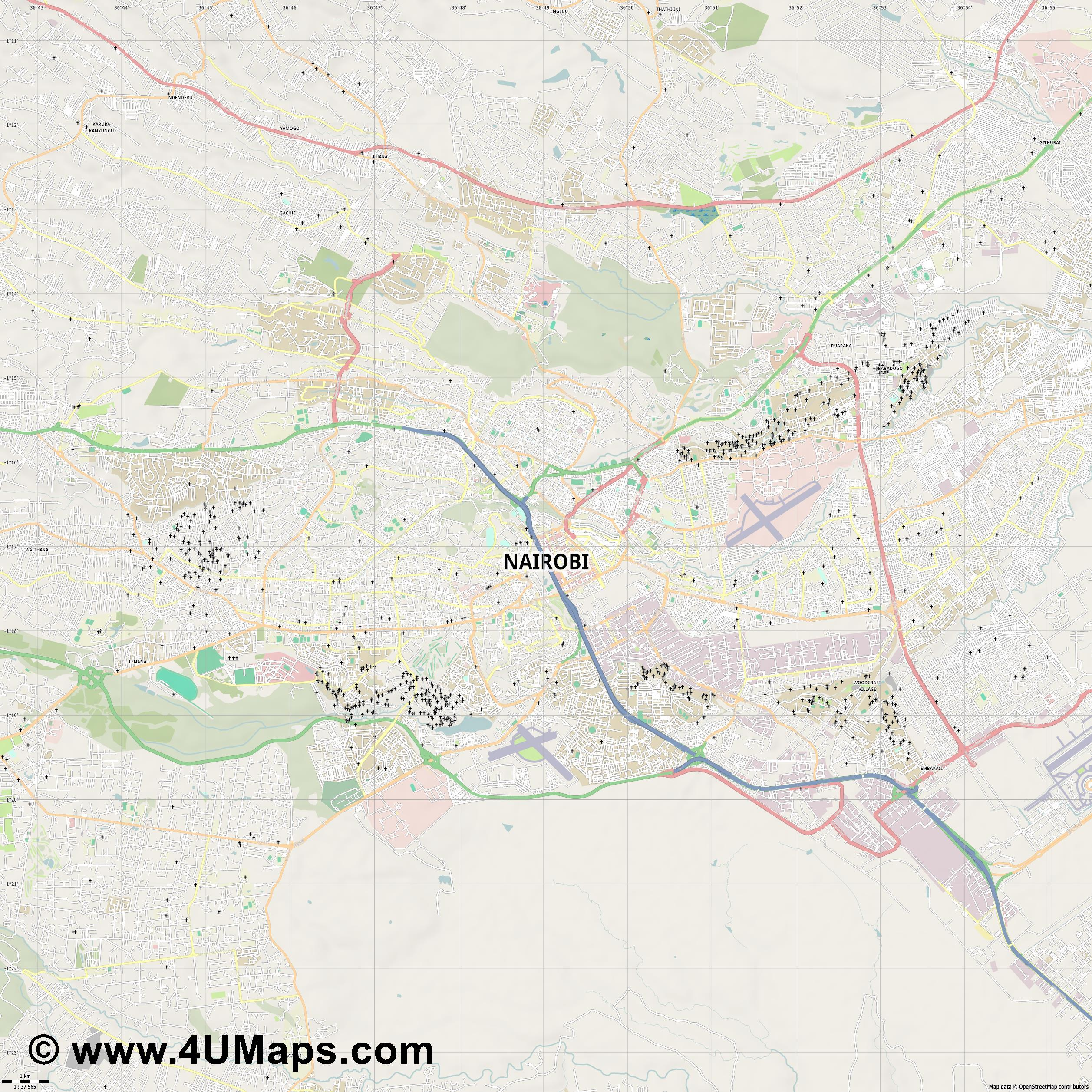 Nairobi  jpg high detail, large area preview vector city map