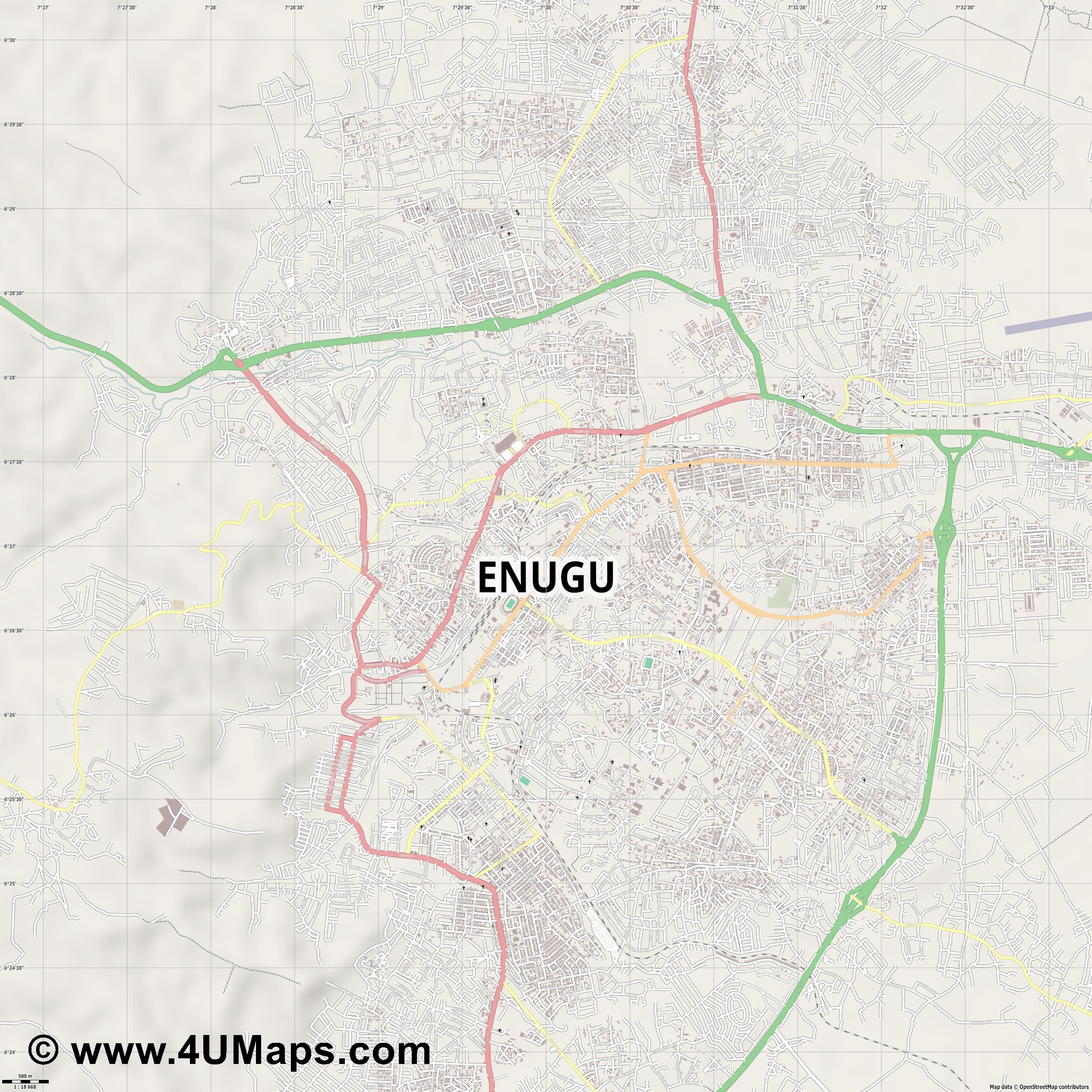 Enugu  jpg ultra high detail preview vector city map