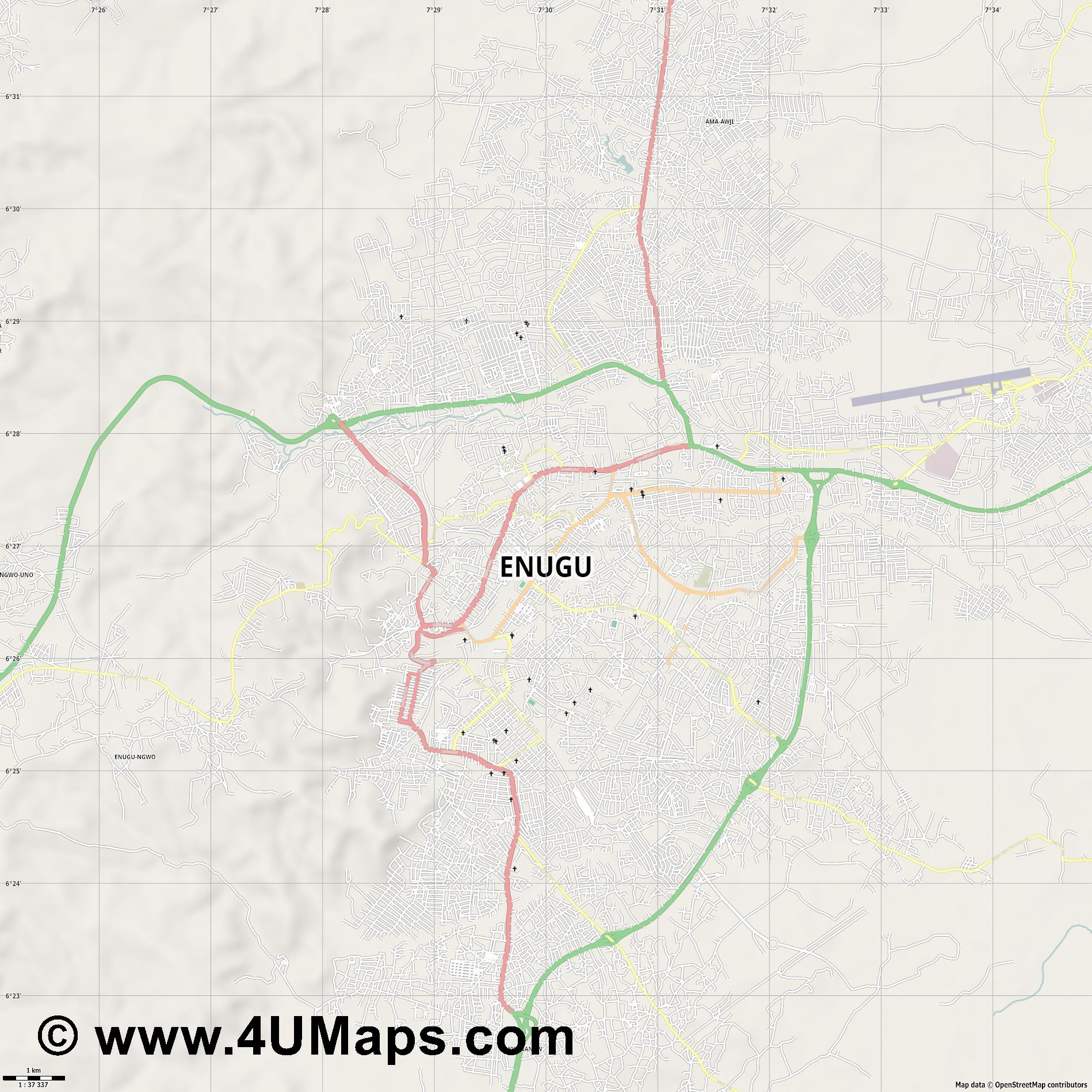 Enugu  jpg high detail, large area preview vector city map