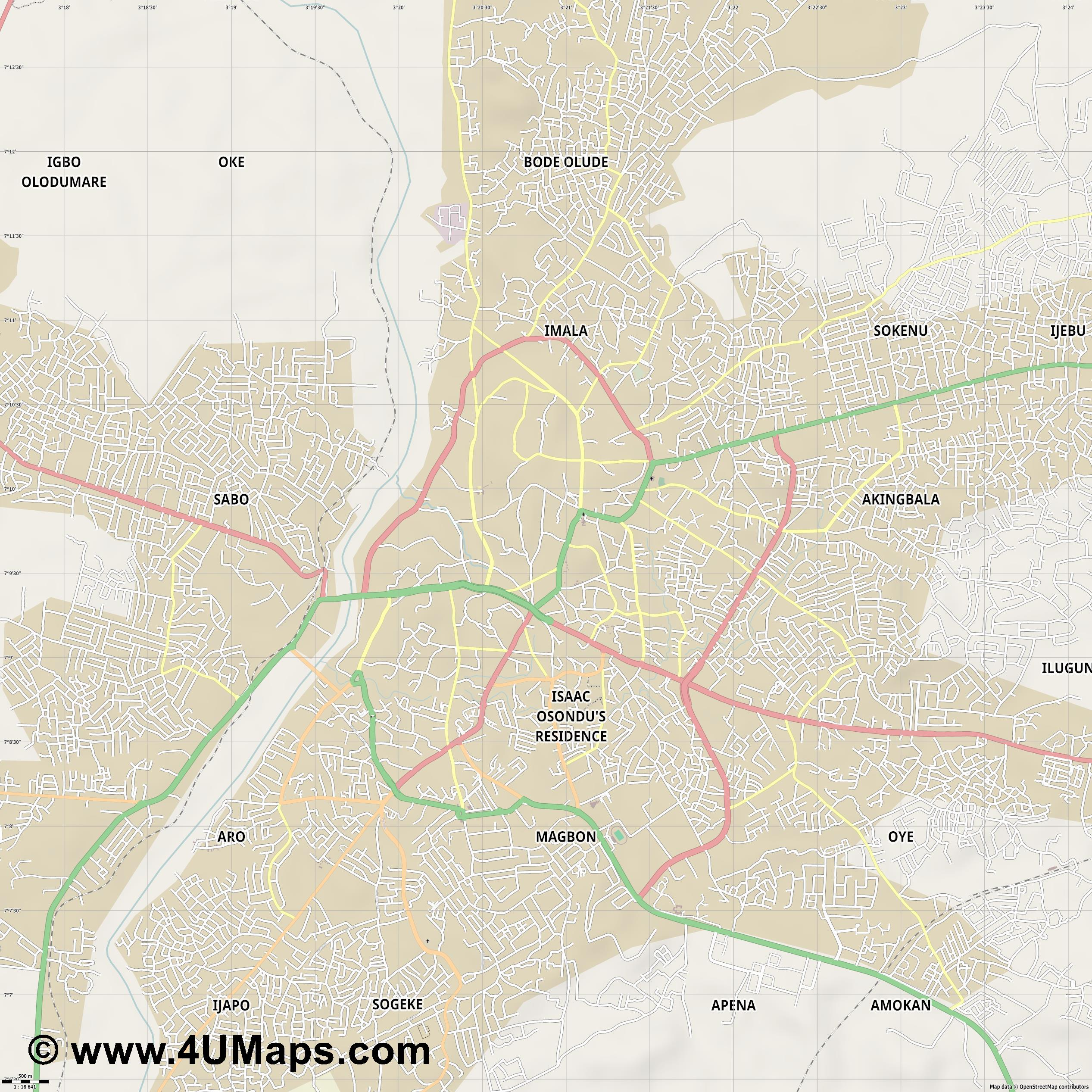 Abeokuta  jpg ultra high detail preview vector city map