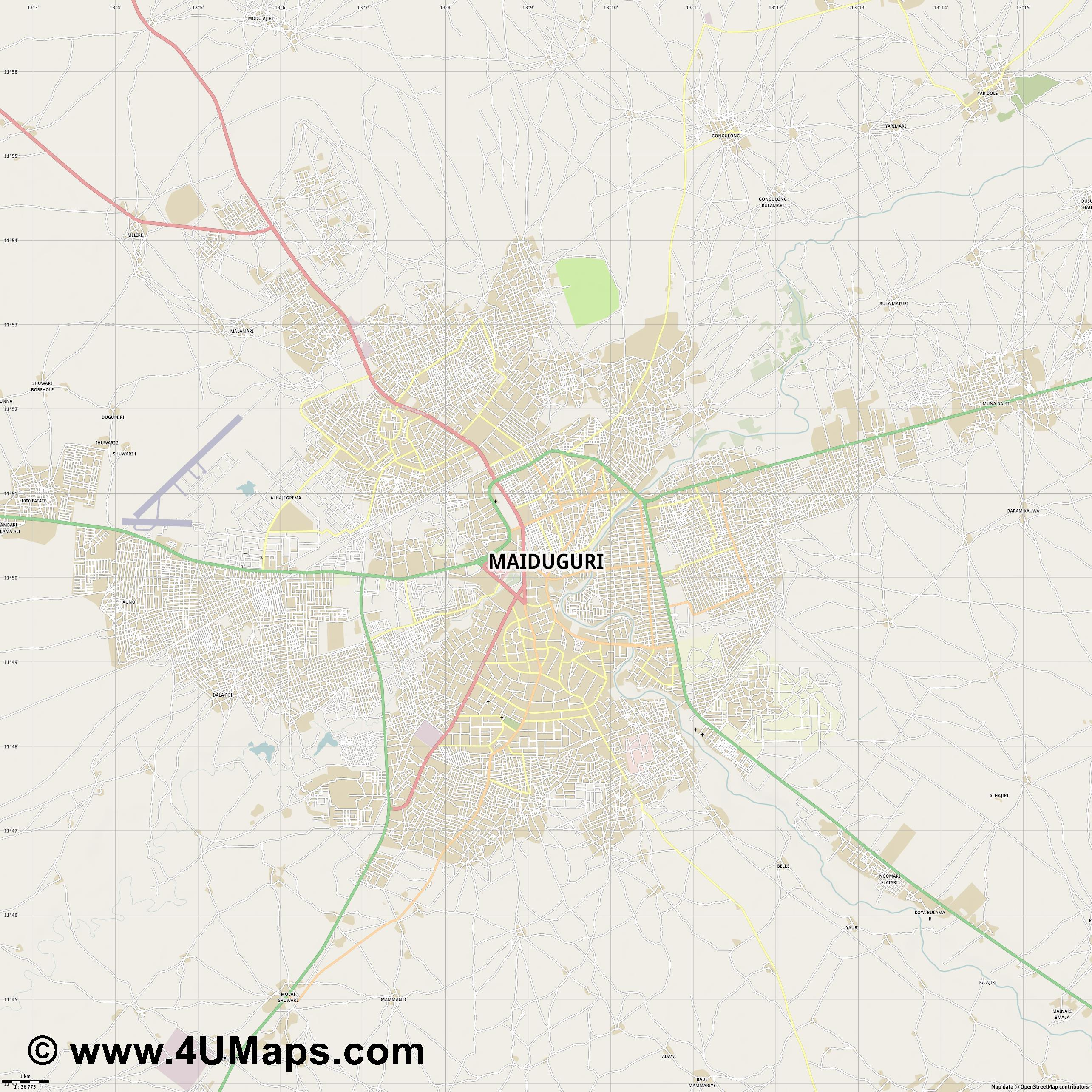 Maiduguri  jpg high detail, large area preview vector city map