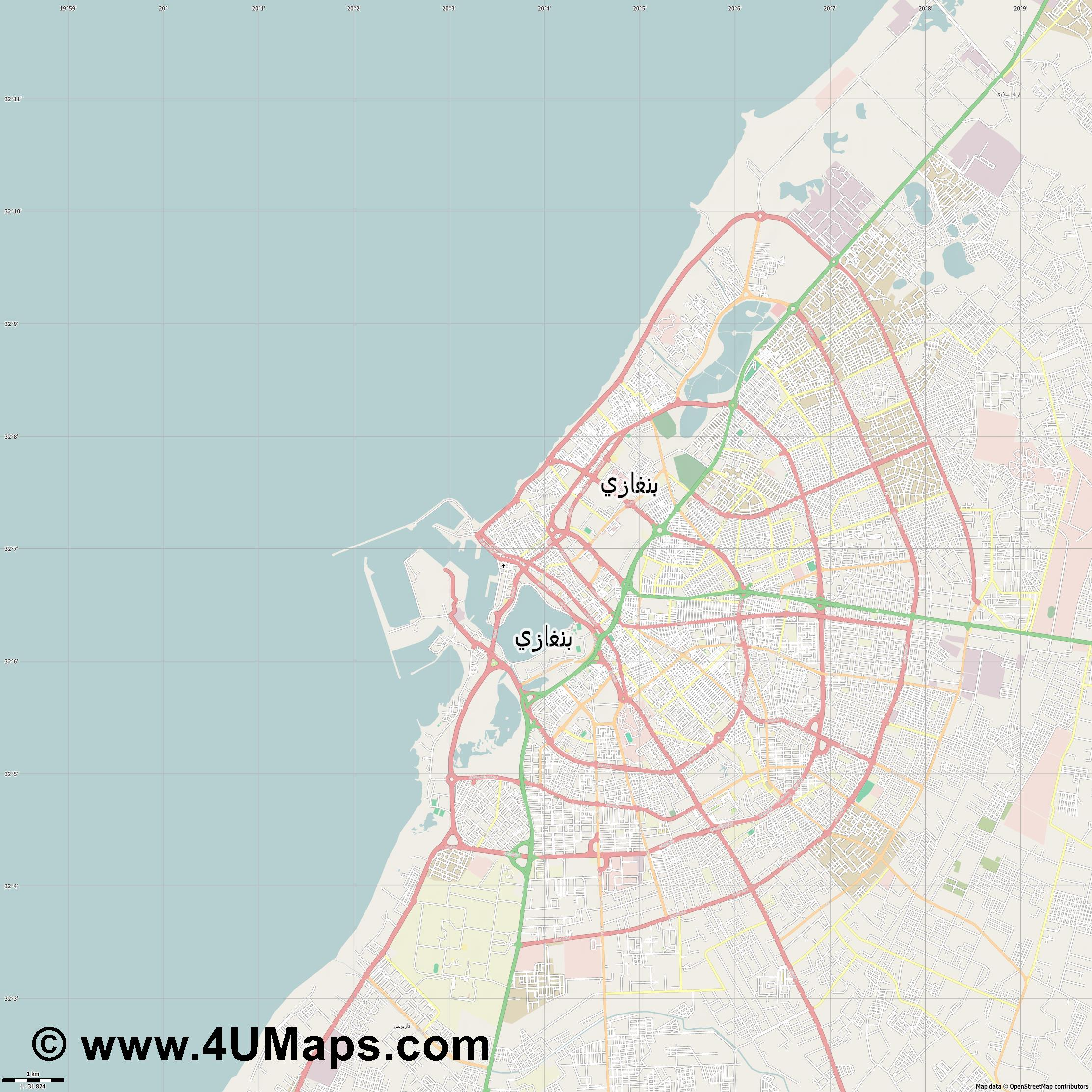 بنغازى Benghazi Bengasi  jpg high detail, large area preview vector city map