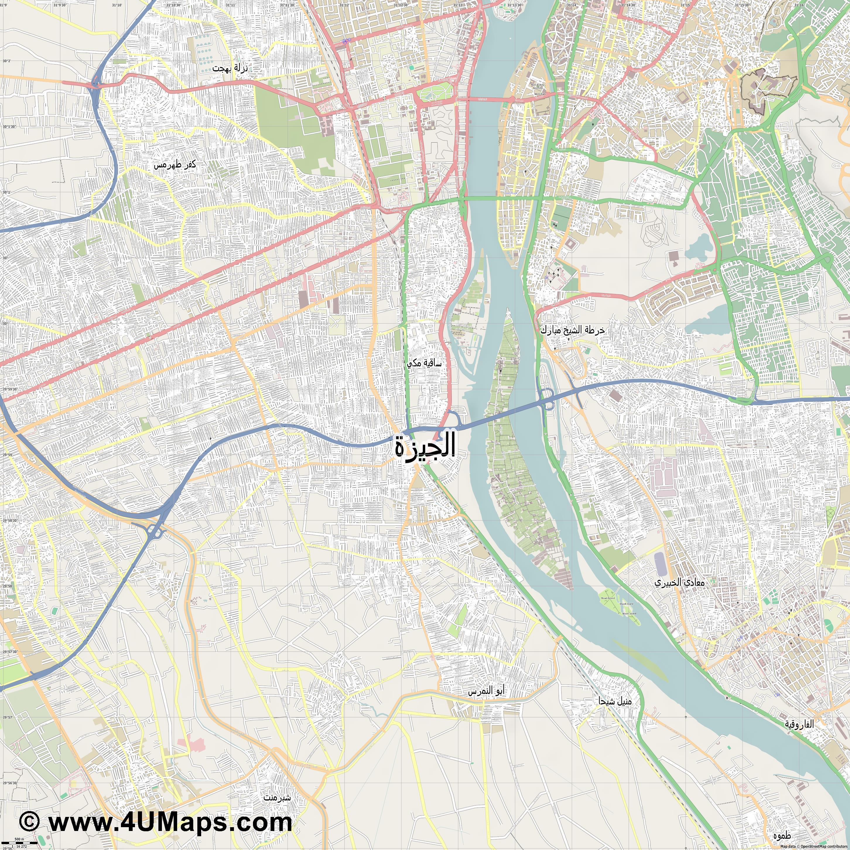 الجيزة Giza Giseh  jpg ultra high detail preview vector city map