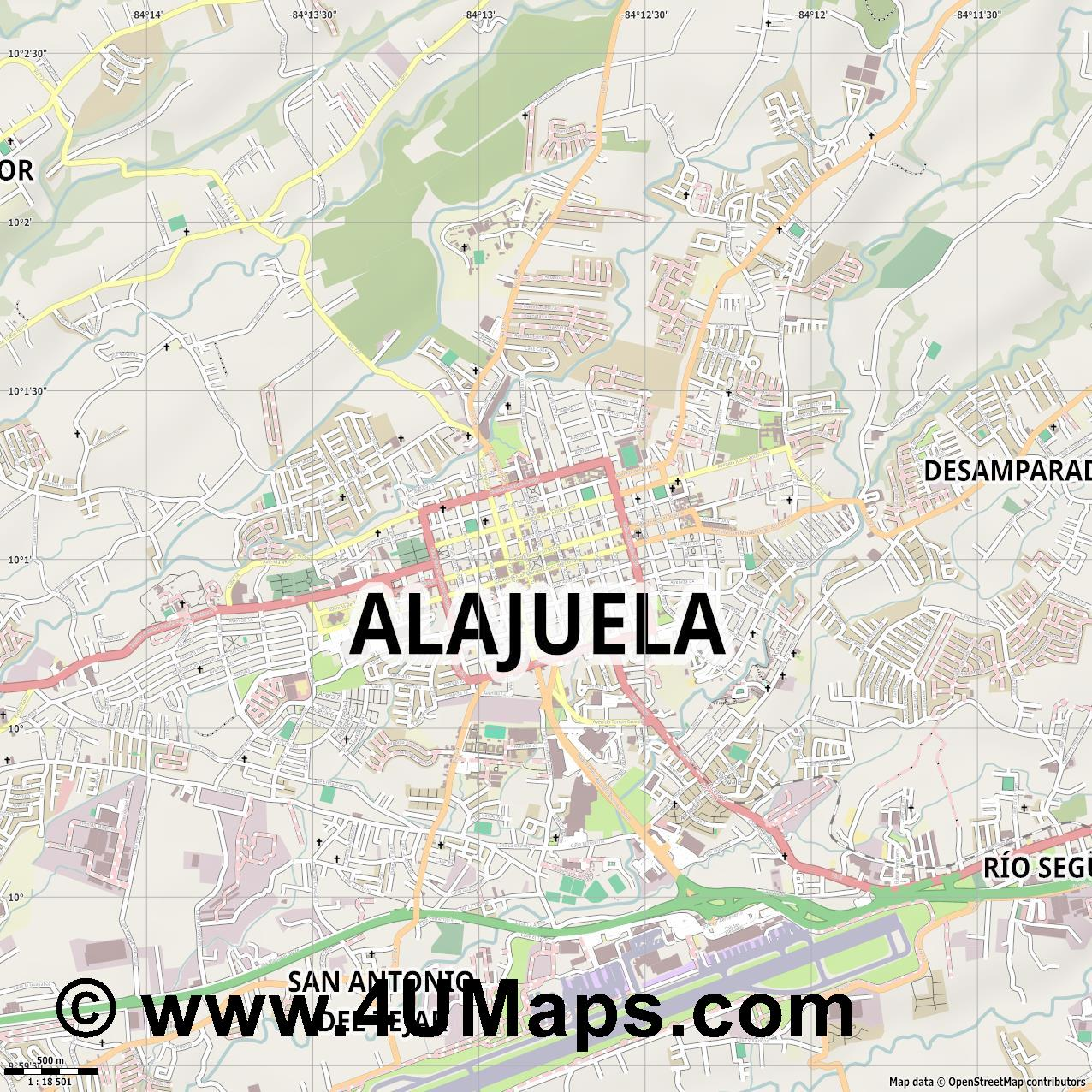 Alajuela  jpg ultra high detail preview vector city map