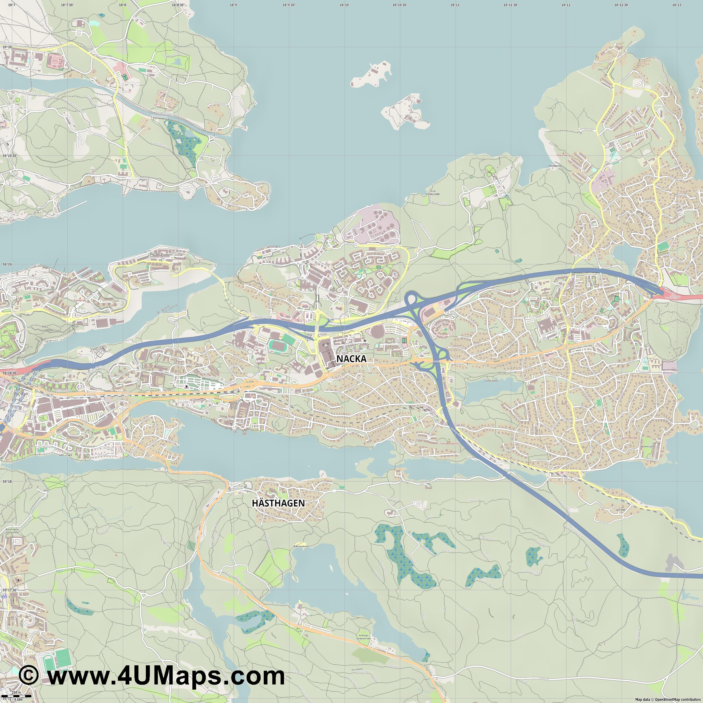 Nacka  jpg ultra high detail preview vector city map