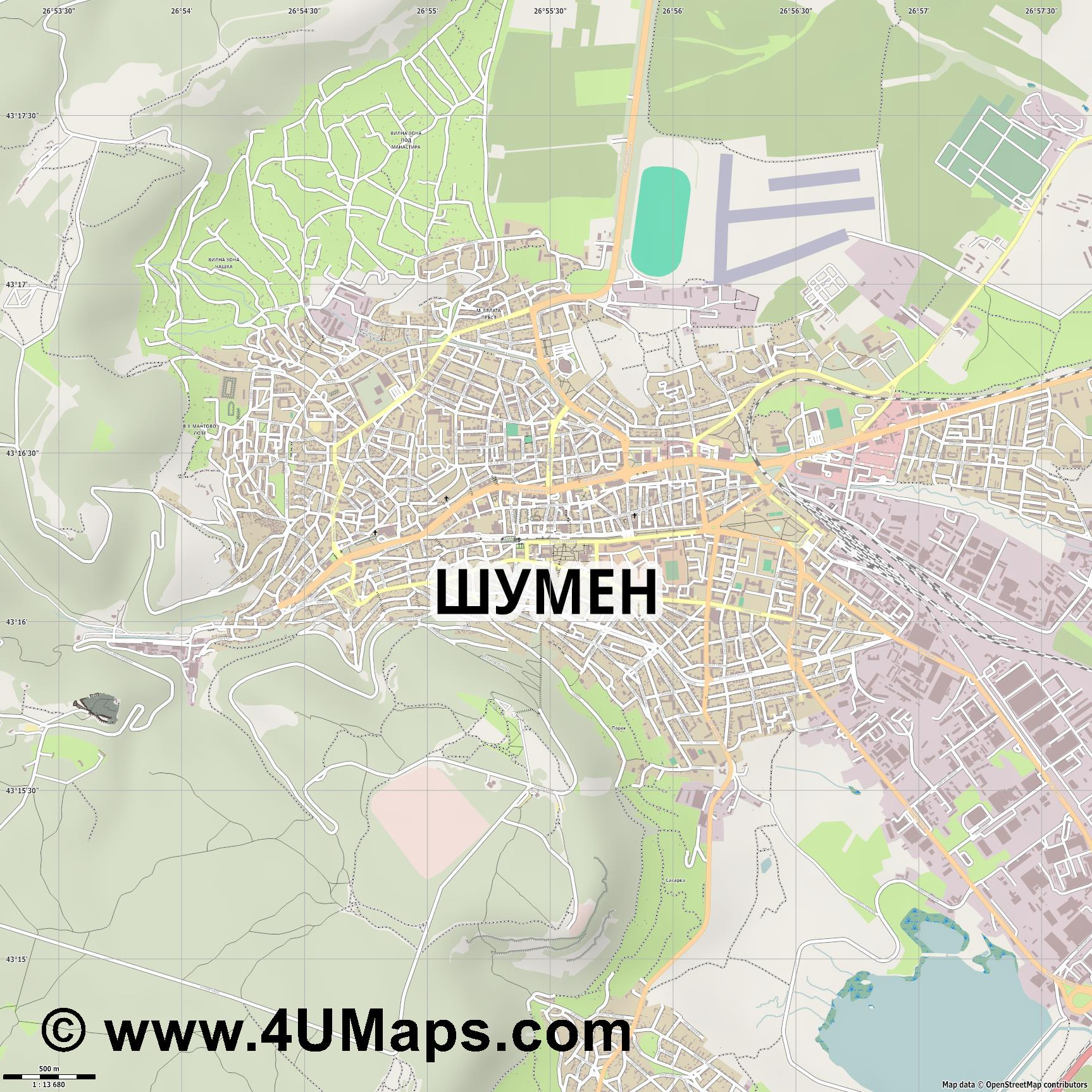 Шумен Shumen Choumen Schumen  jpg ultra high detail preview vector city map
