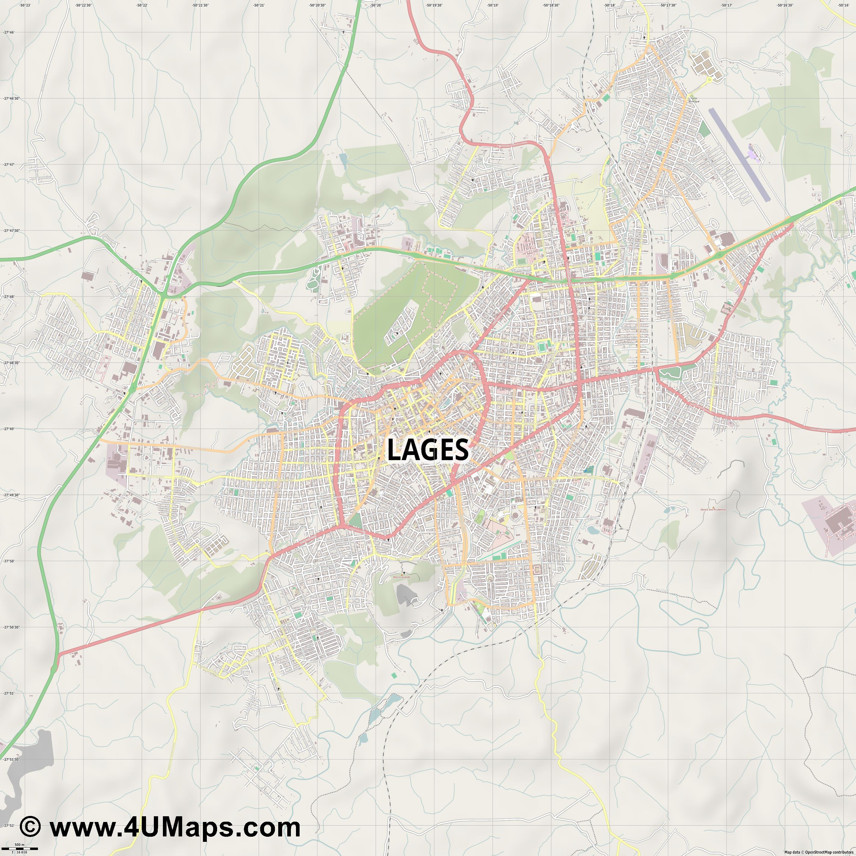 Lages  jpg ultra high detail preview vector city map
