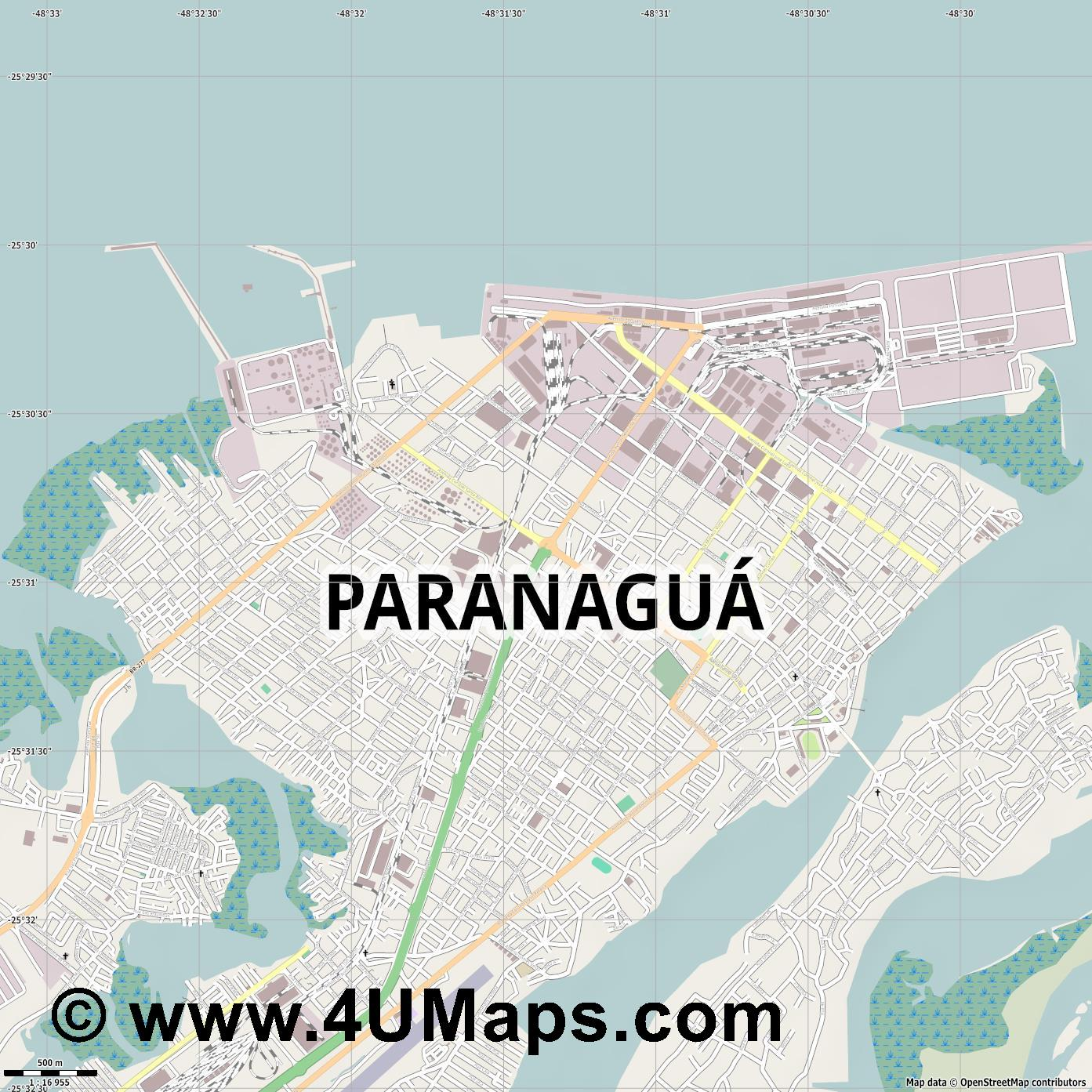 Paranaguá  jpg ultra high detail preview vector city map