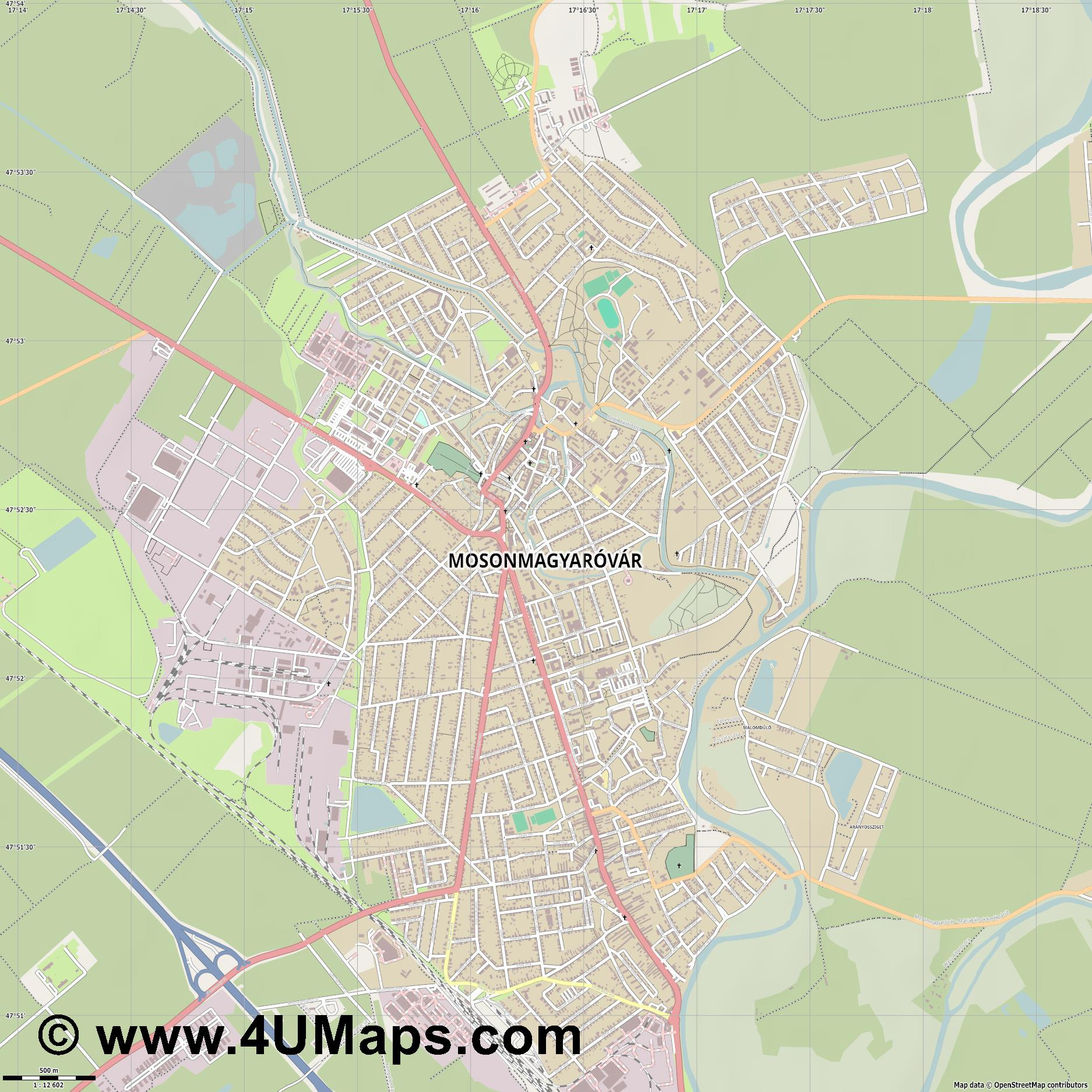 Mosonmagyaróvár Wieselburg Ungarisch Altenburg  jpg ultra high detail preview vector city map
