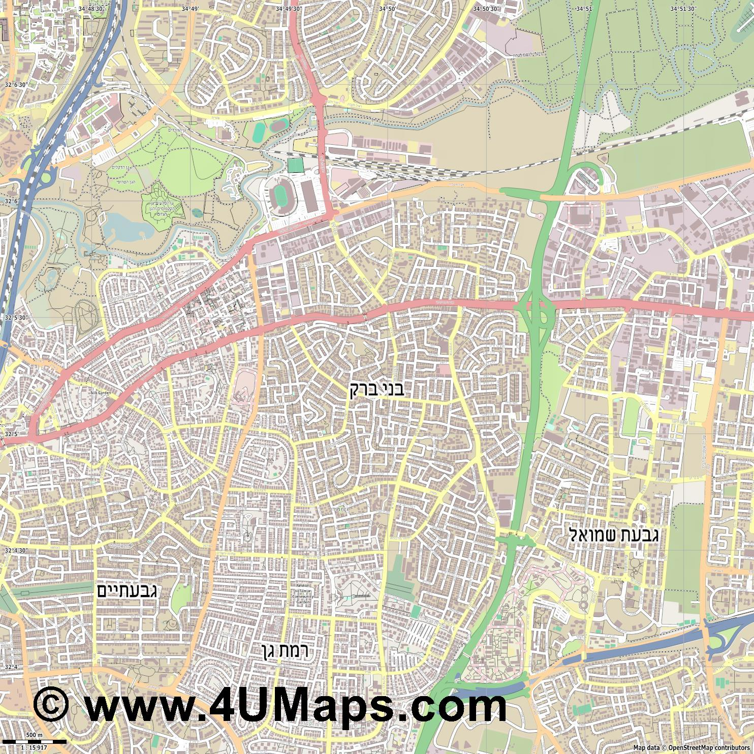 בני ברק Bnei Brak Bnei Berak  jpg ultra high detail preview vector city map