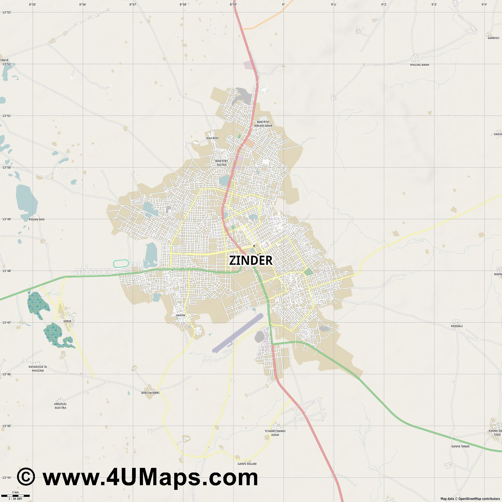 Zinder  jpg high detail, large area preview vector city map