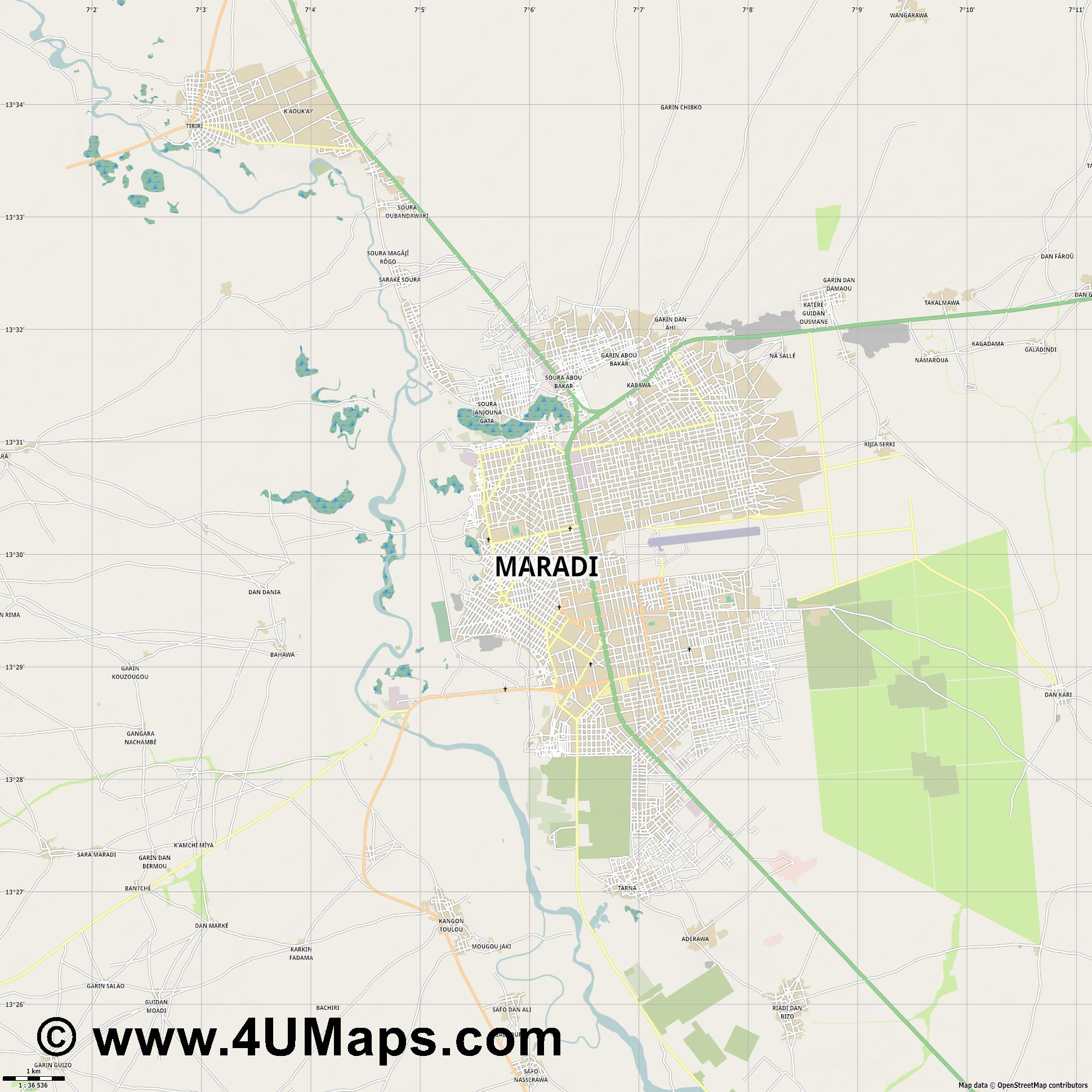 Maradi  jpg high detail, large area preview vector city map