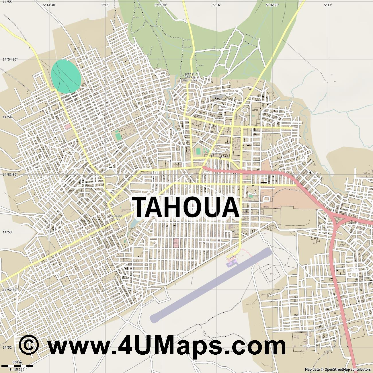 Tahoua  jpg ultra high detail preview vector city map