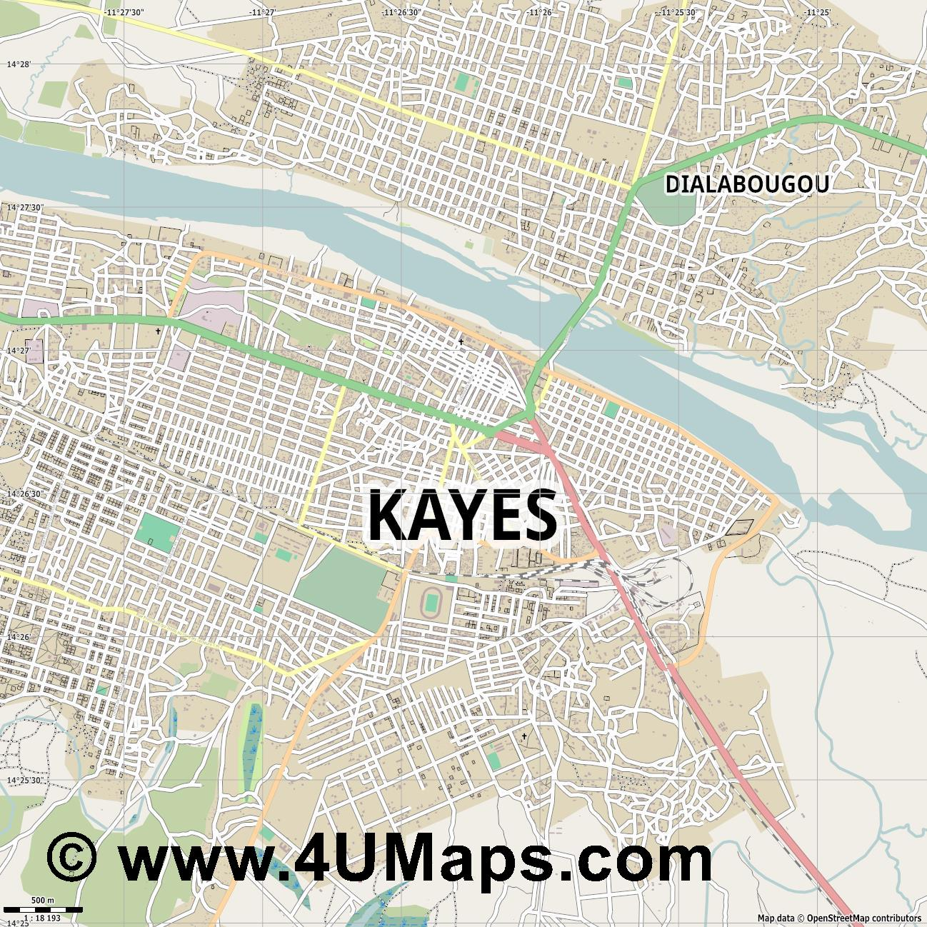 Kayes  jpg ultra high detail preview vector city map