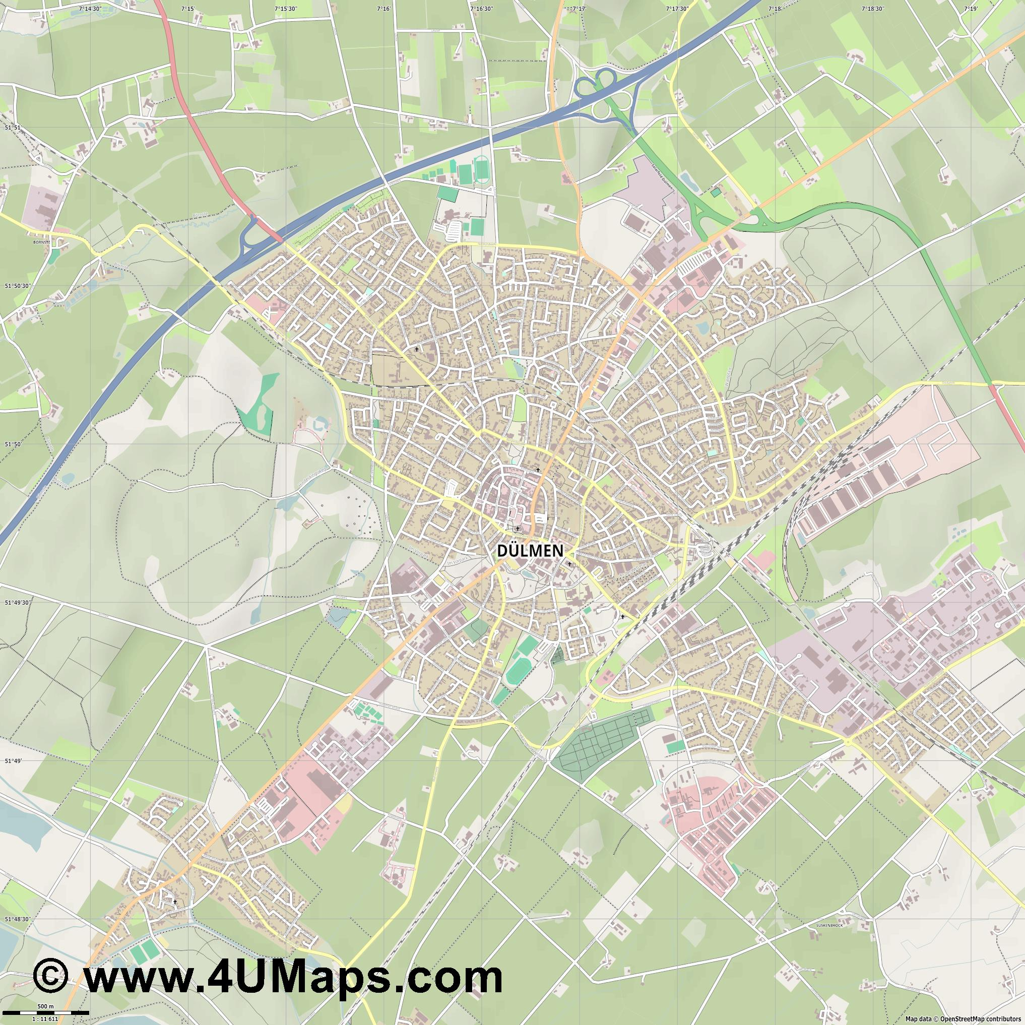 Dülmen  jpg ultra high detail preview vector city map
