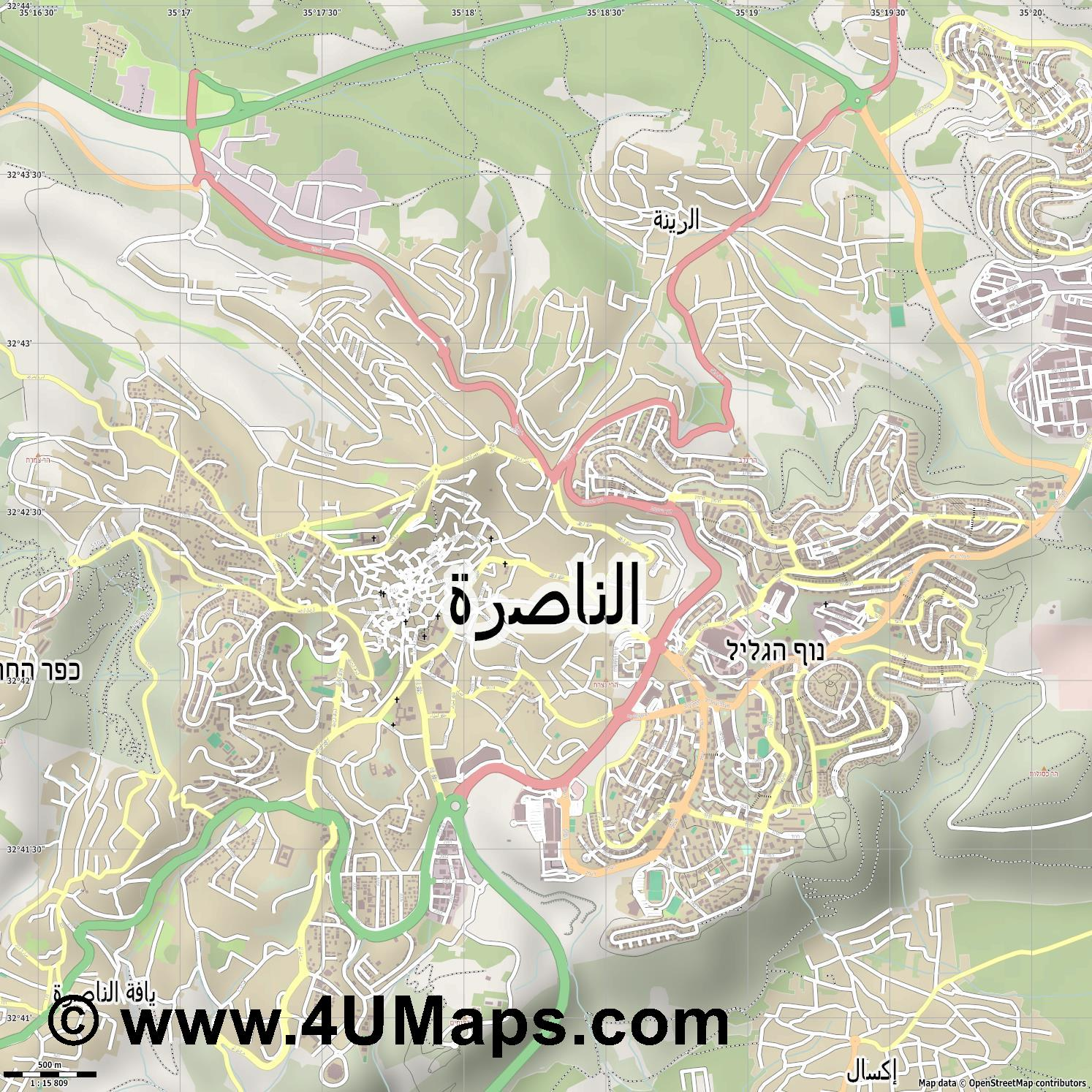 נצרת Nazareth  jpg ultra high detail preview vector city map