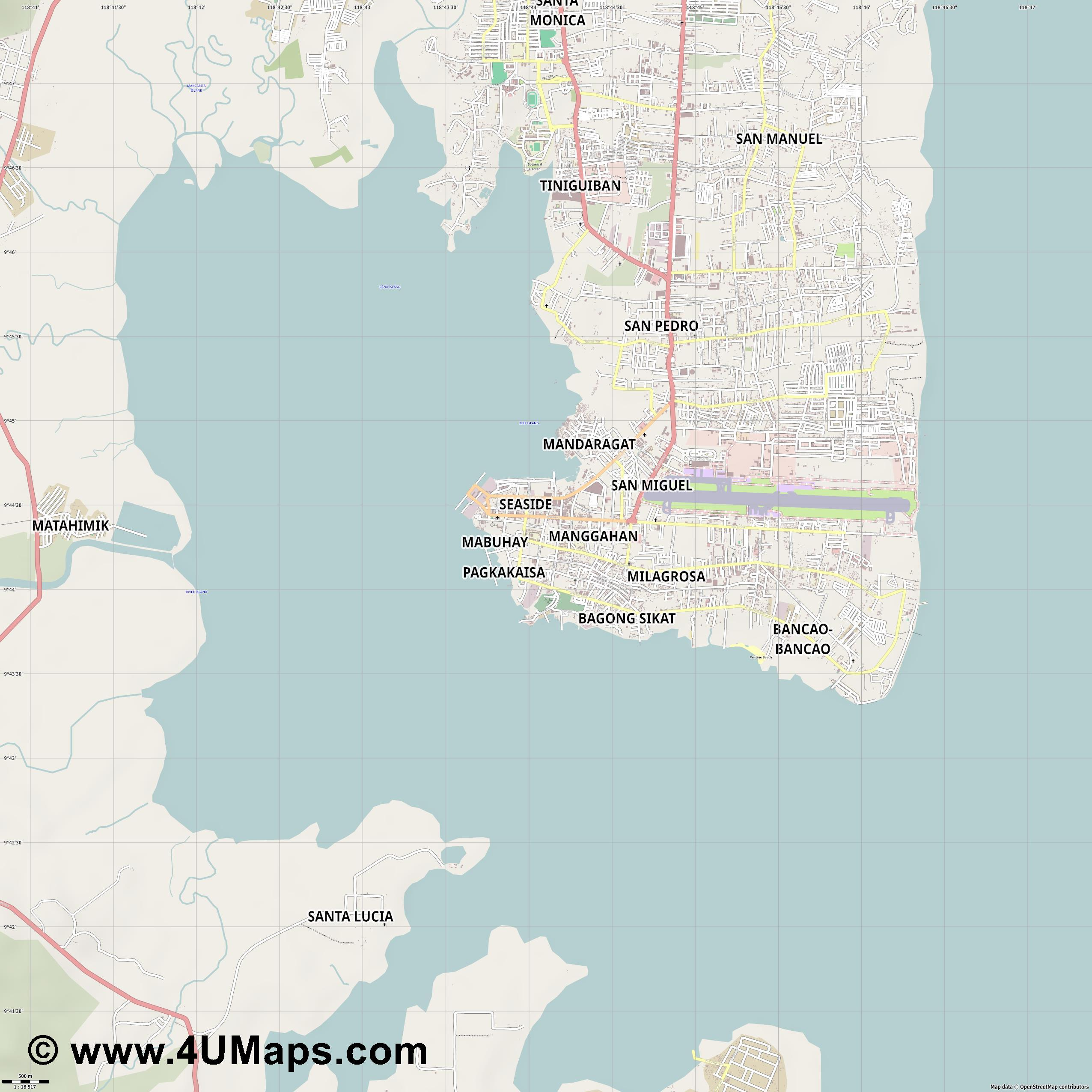Puerto Princesa  jpg ultra high detail preview vector city map