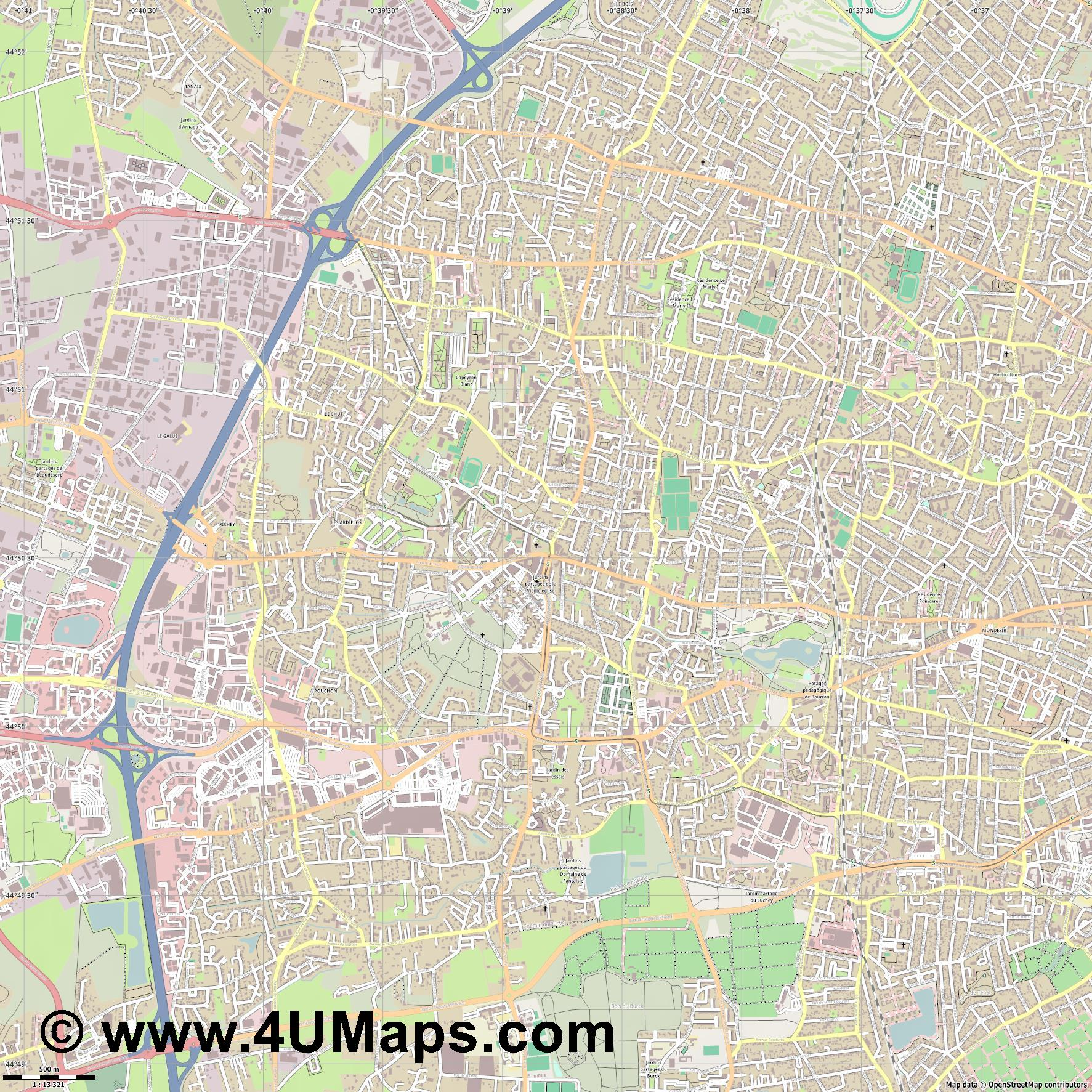 Mérignac  jpg ultra high detail preview vector city map