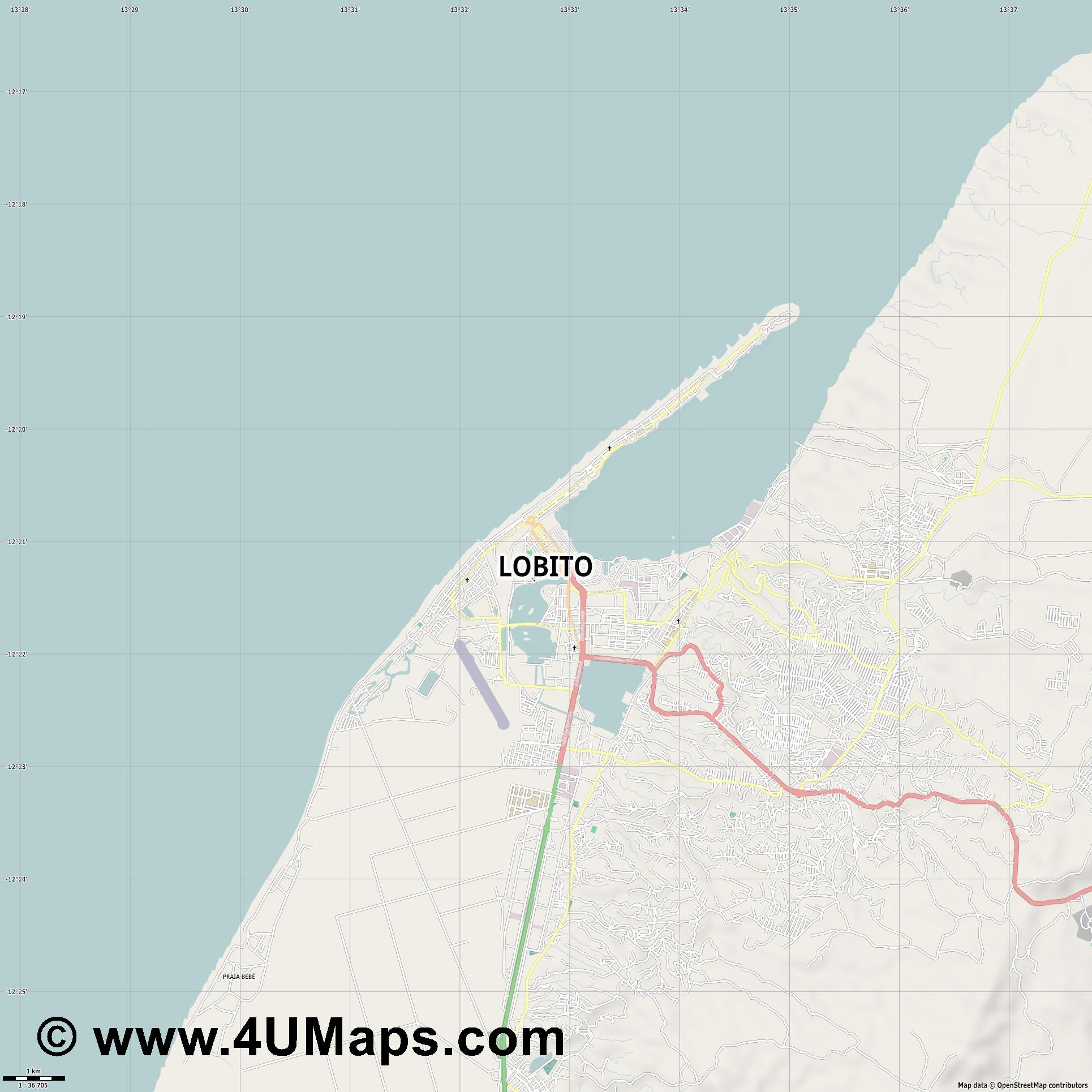 Lobito  jpg high detail, large area preview vector city map