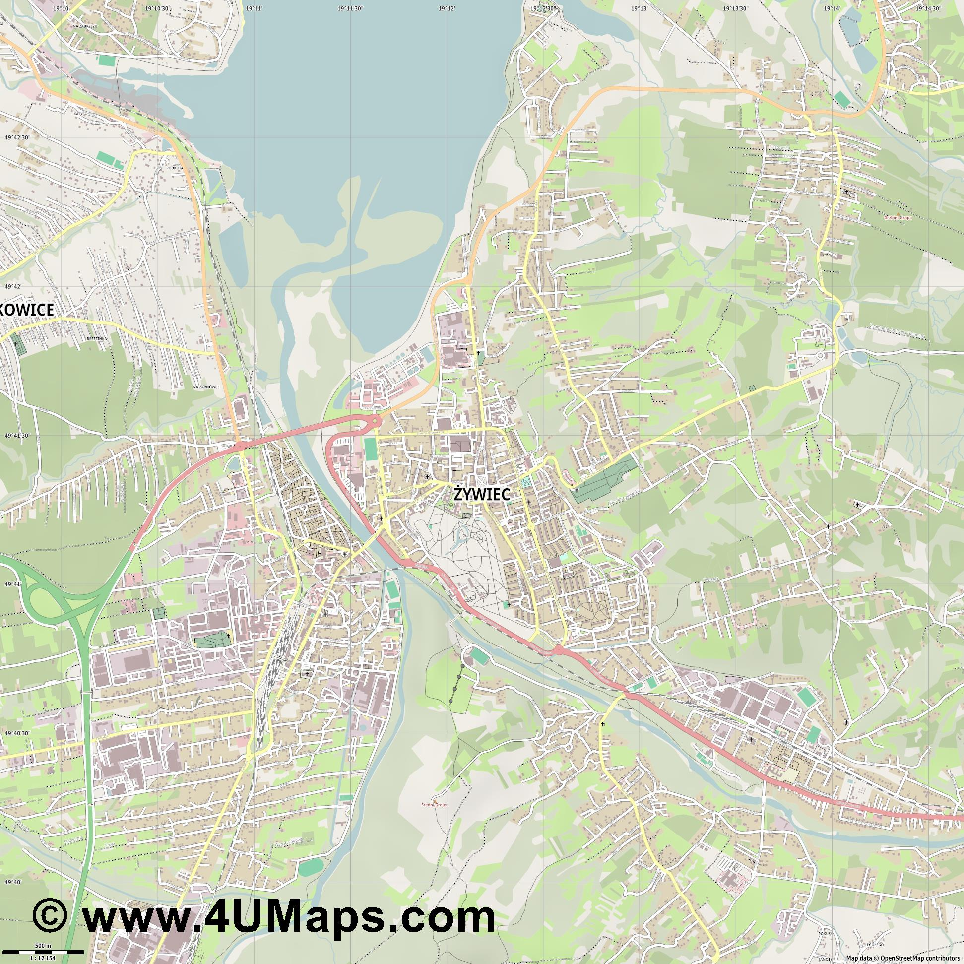 Żywiec Saybusch  jpg ultra high detail preview vector city map