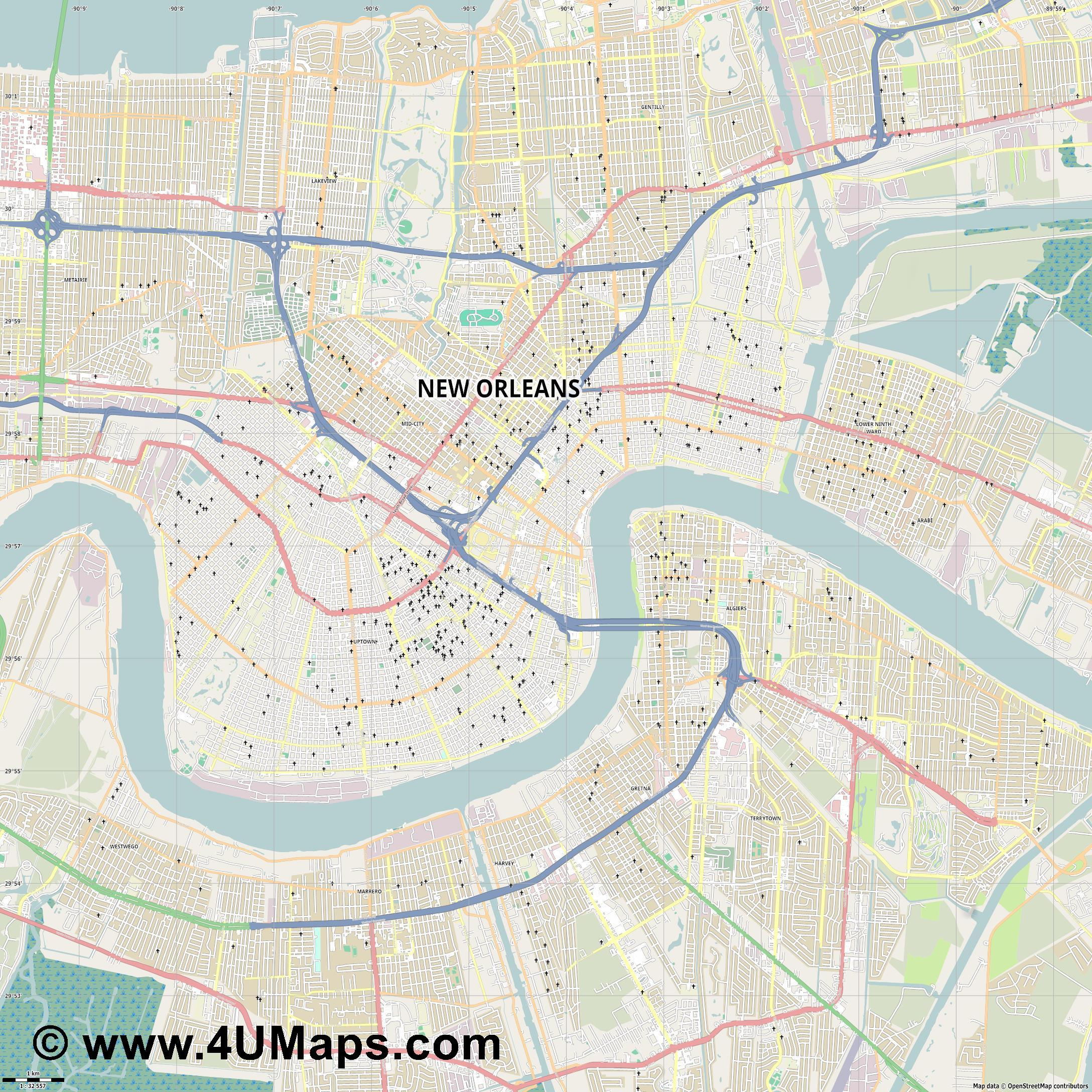 Svg Scalable Vector City Map New Orleans - Map of new orleans area