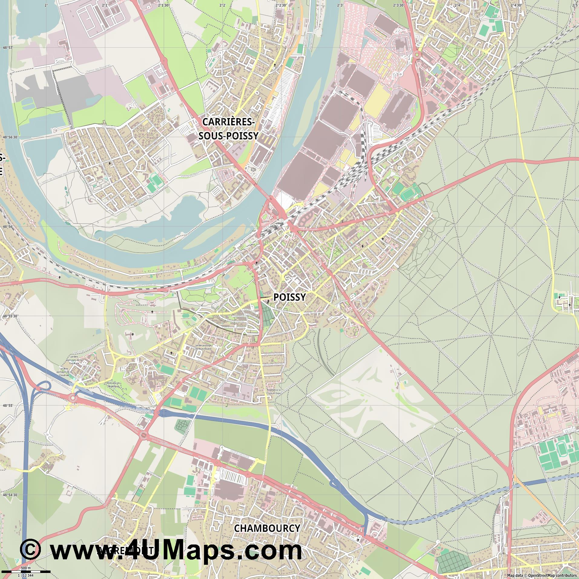 Poissy  jpg ultra high detail preview vector city map