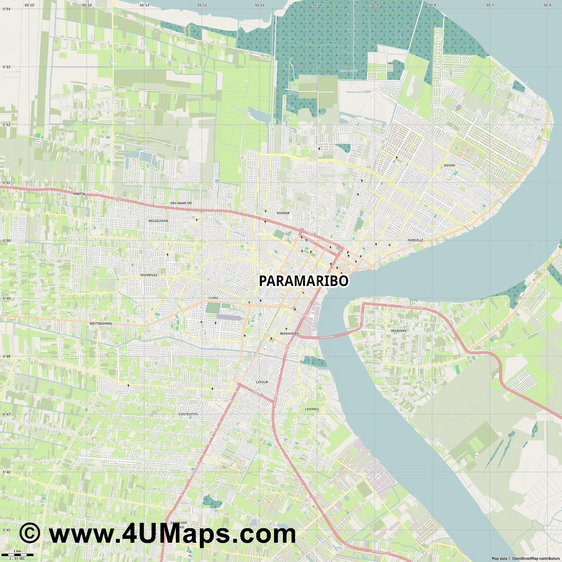 Paramaribo  jpg high detail, large area preview vector city map
