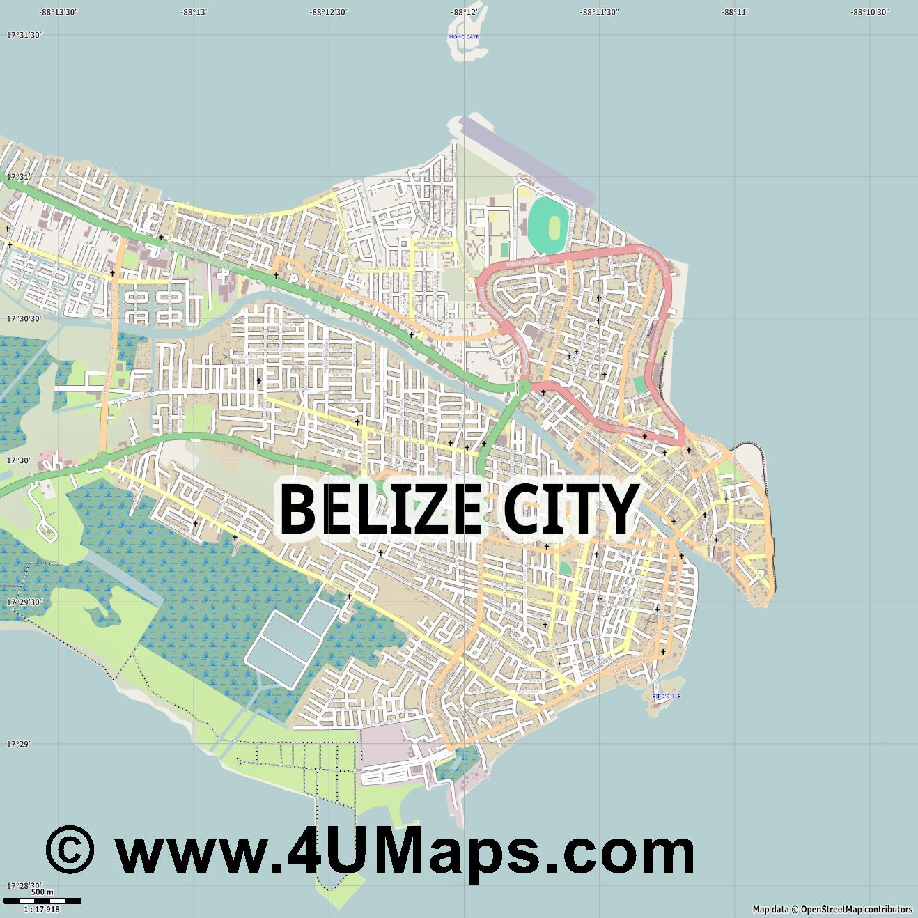 Belize City  jpg ultra high detail preview vector city map