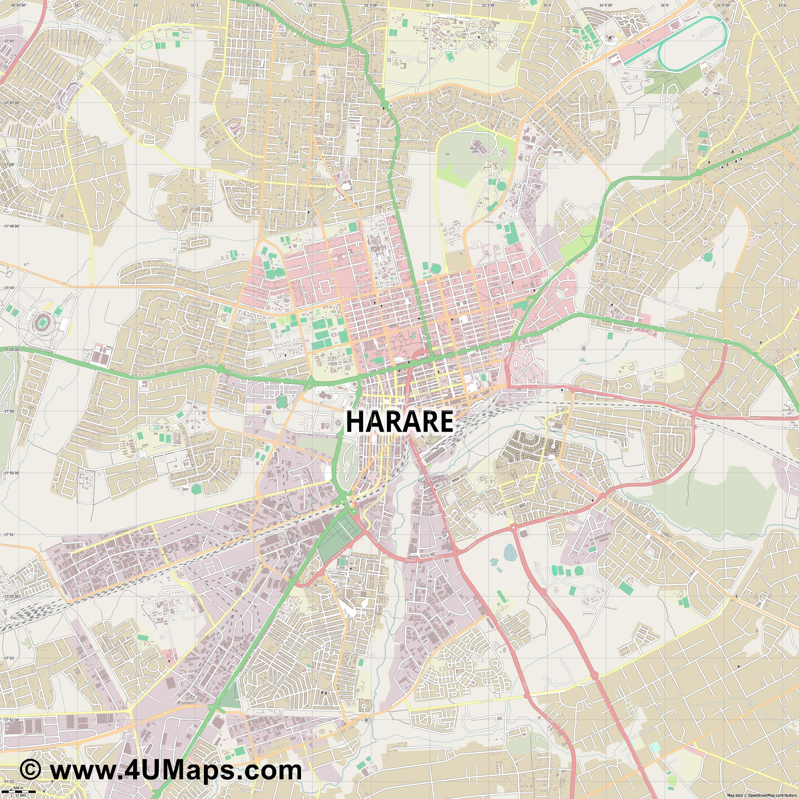 Harare  jpg ultra high detail preview vector city map