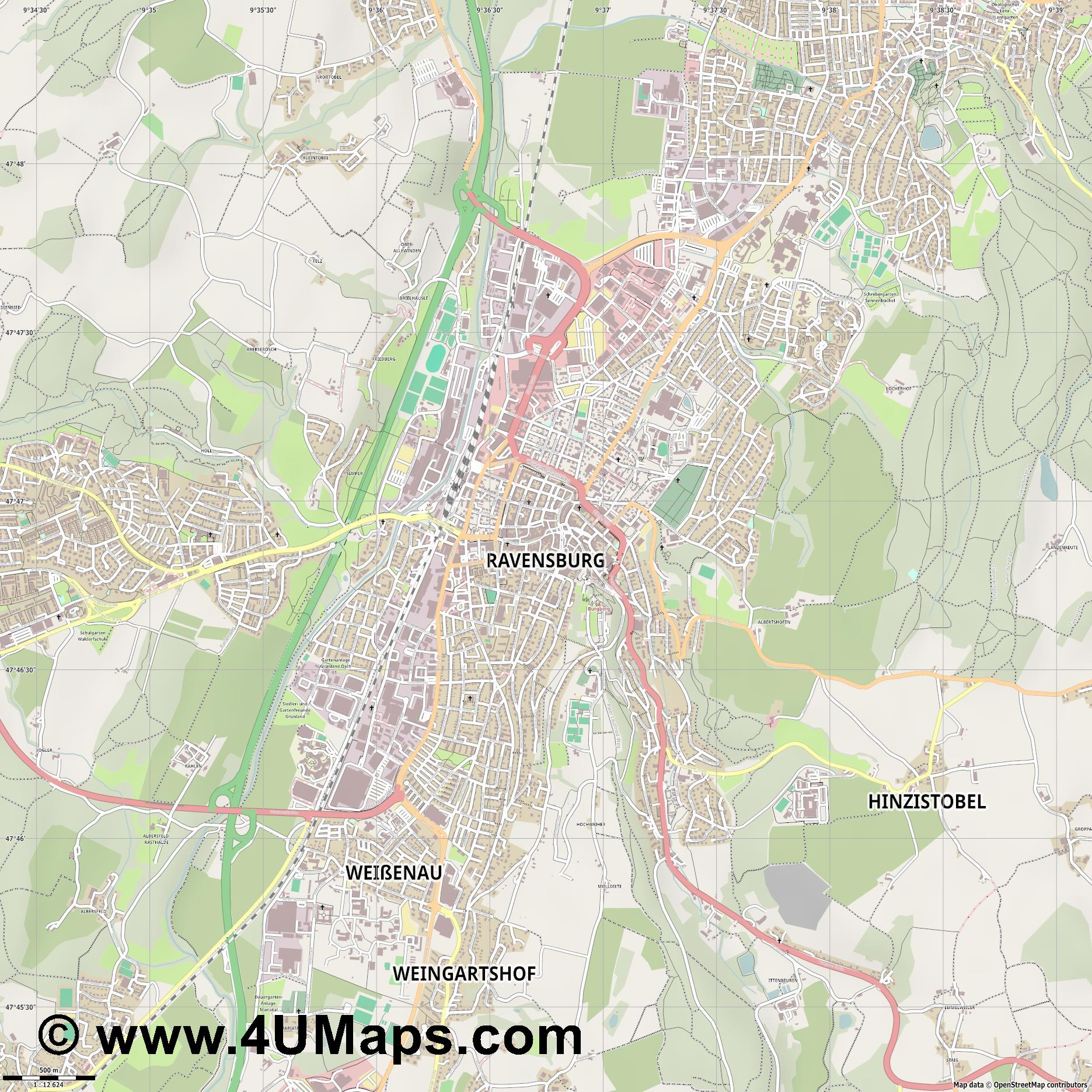 Ravensburg  jpg ultra high detail preview vector city map