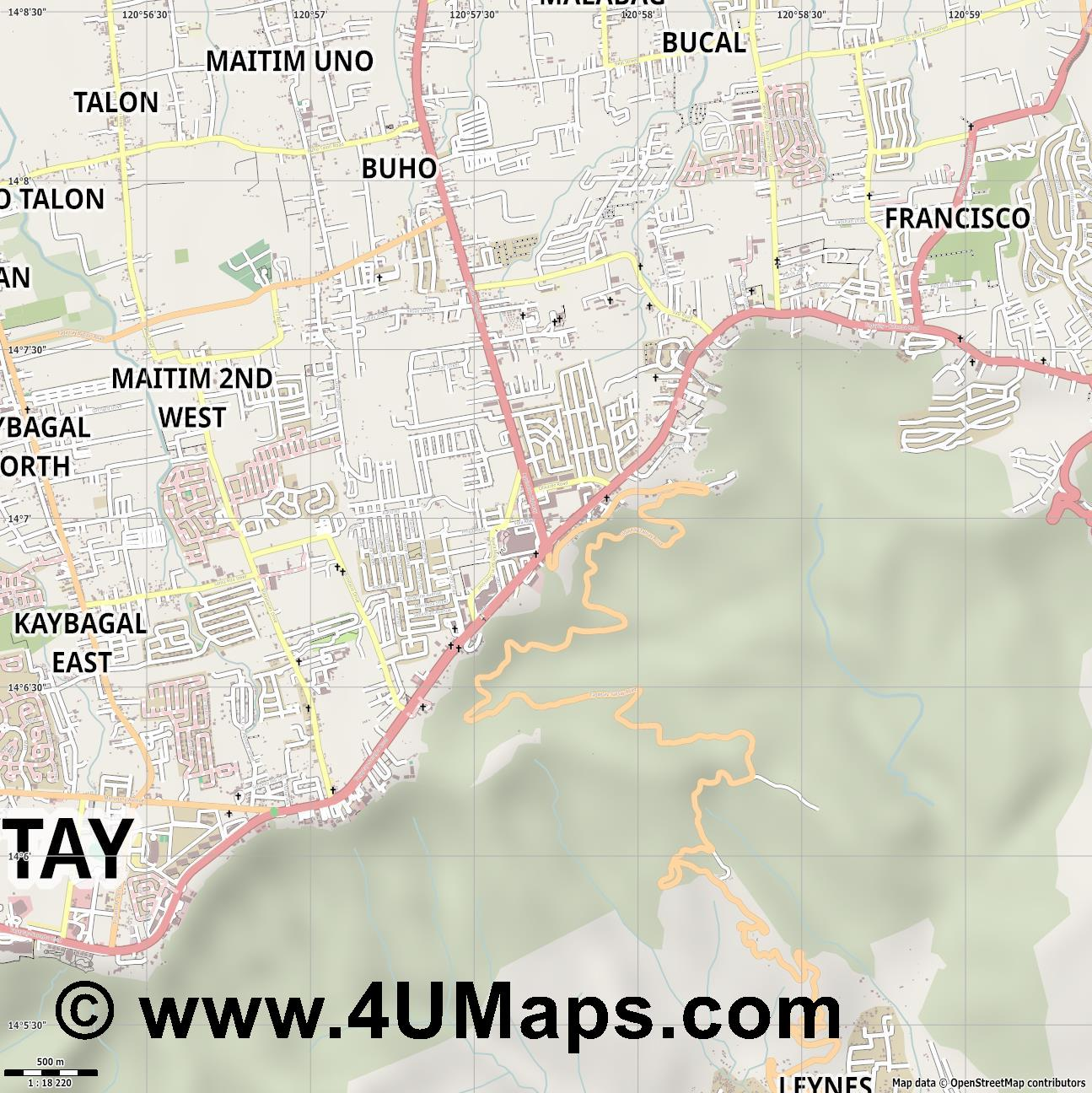 Tagaytay  jpg ultra high detail preview vector city map