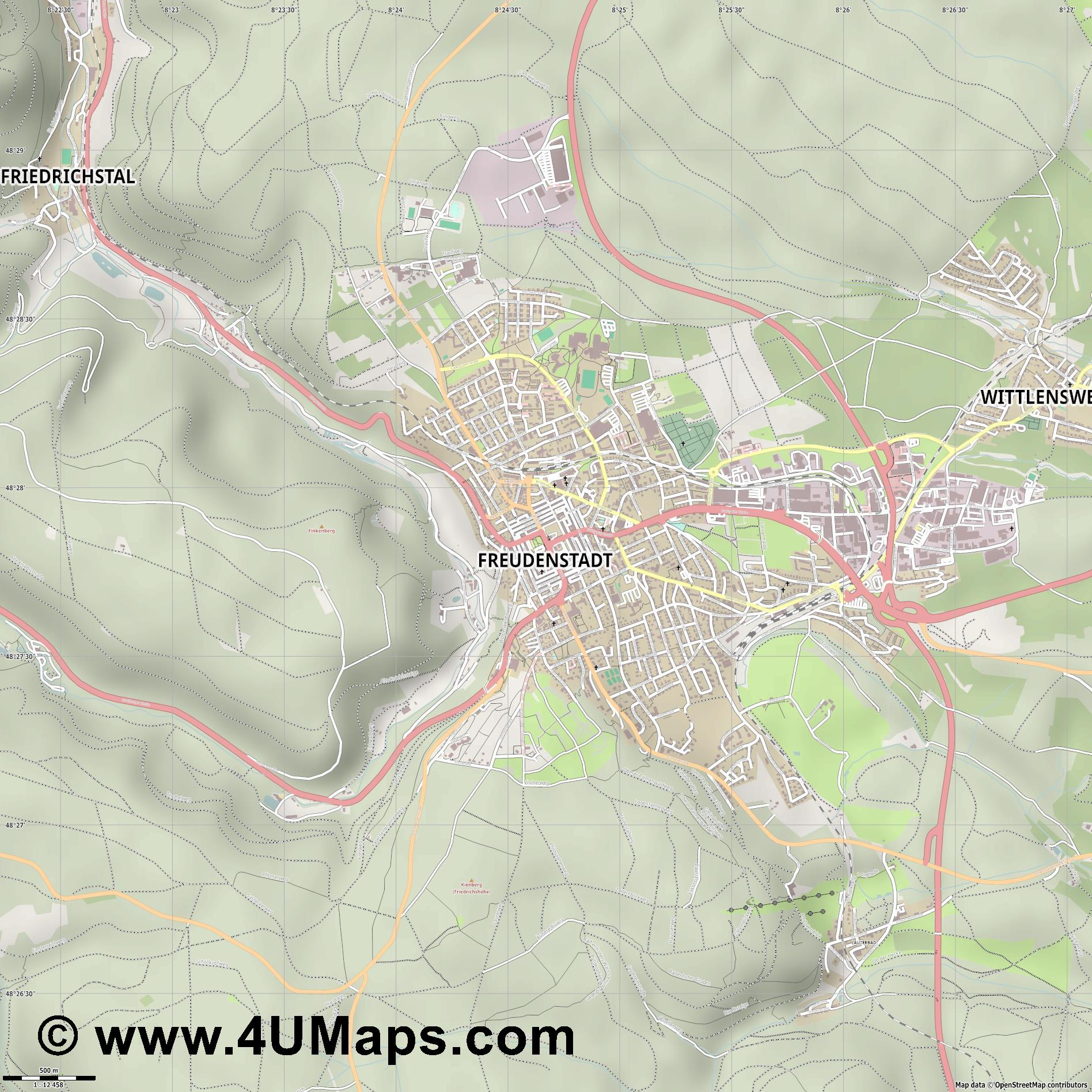 Freudenstadt  jpg ultra high detail preview vector city map
