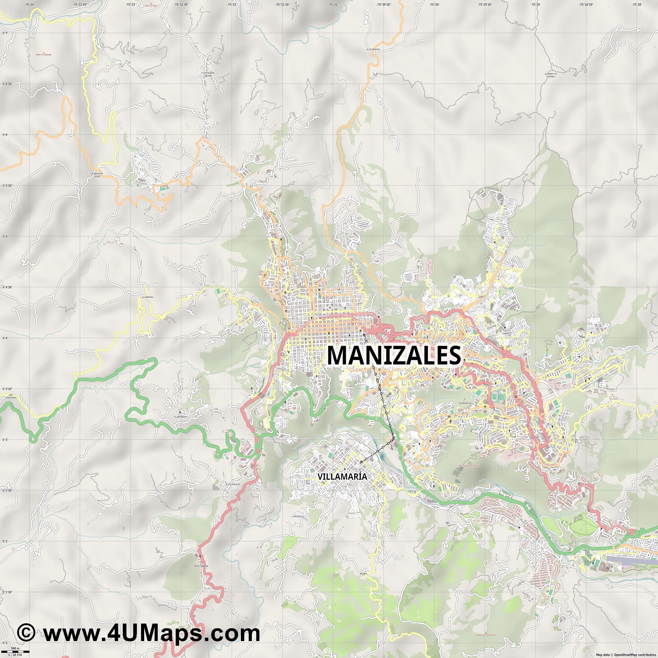 Manizales  jpg ultra high detail preview vector city map