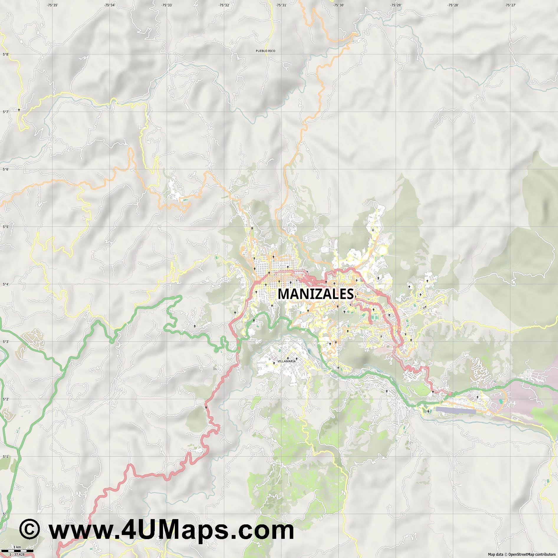 Manizales  jpg high detail, large area preview vector city map