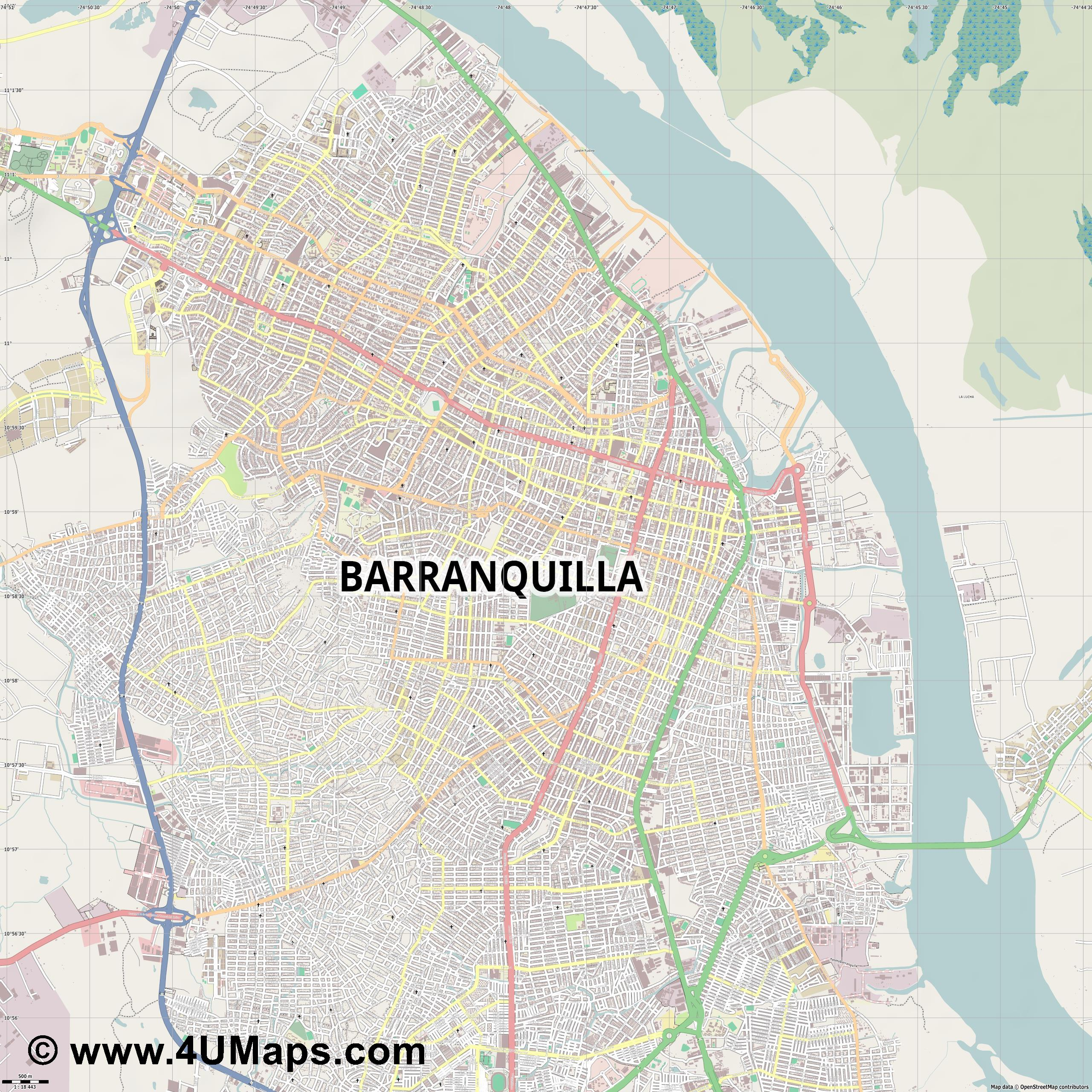 Barranquilla  jpg ultra high detail preview vector city map