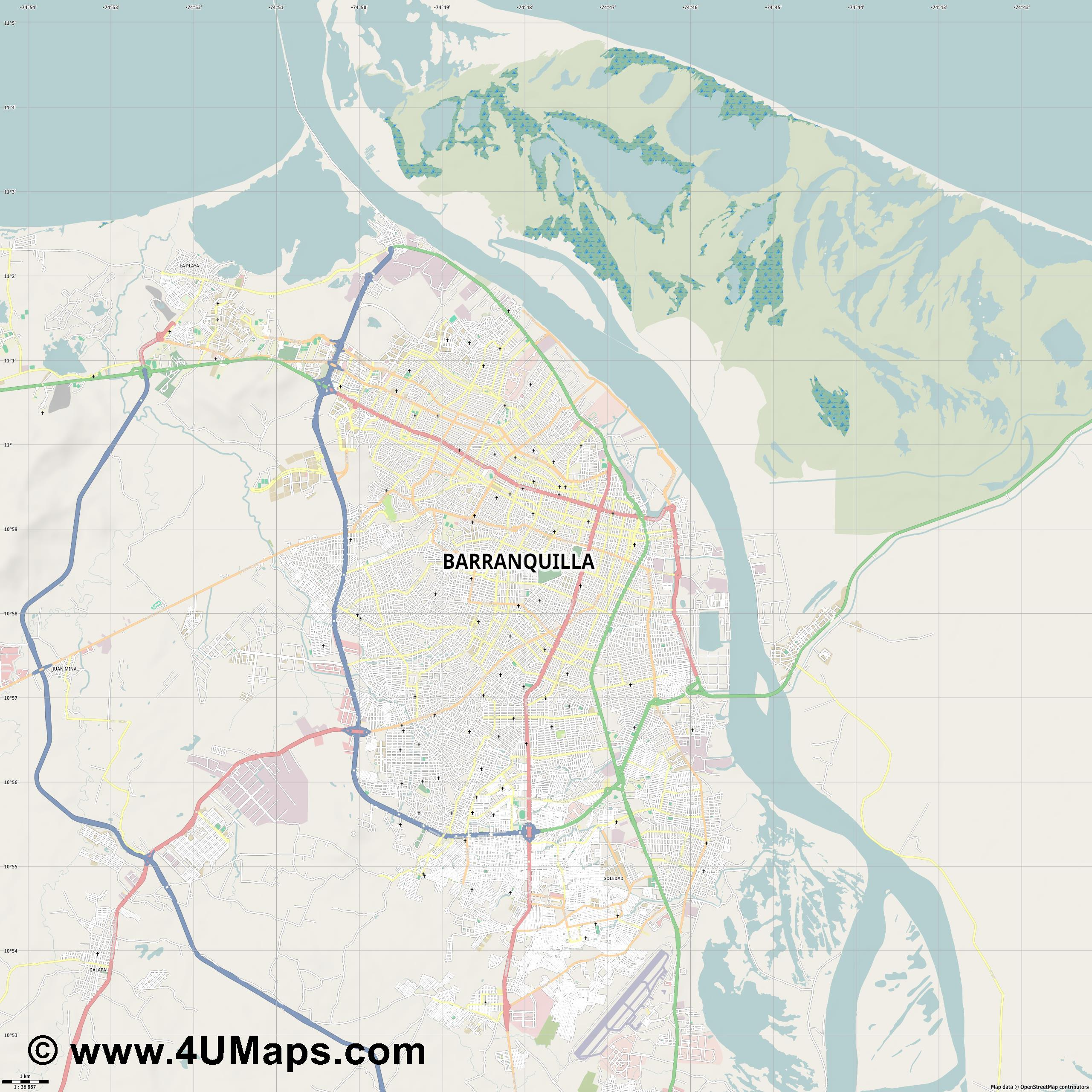 Barranquilla  jpg high detail, large area preview vector city map
