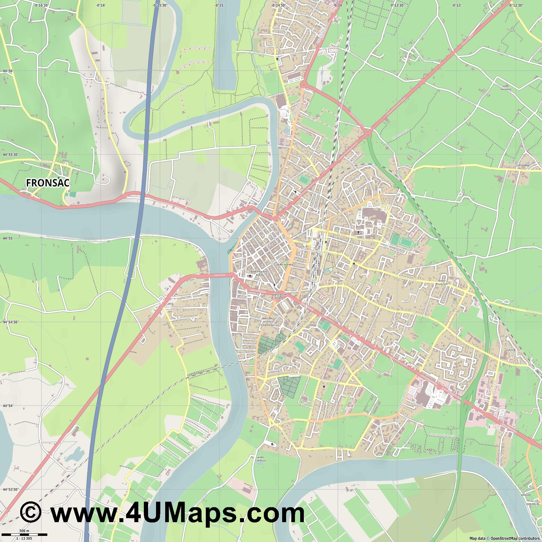 Libourne  jpg ultra high detail preview vector city map