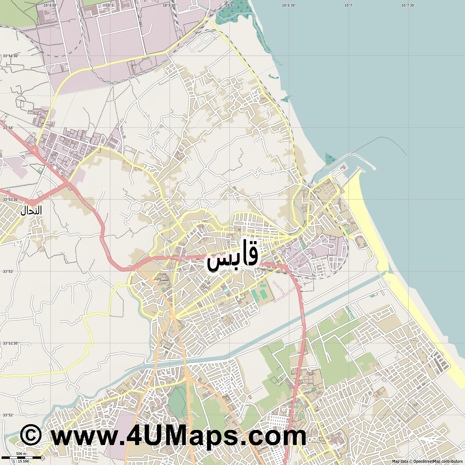 قابس Gabes Gabès  jpg ultra high detail preview vector city map