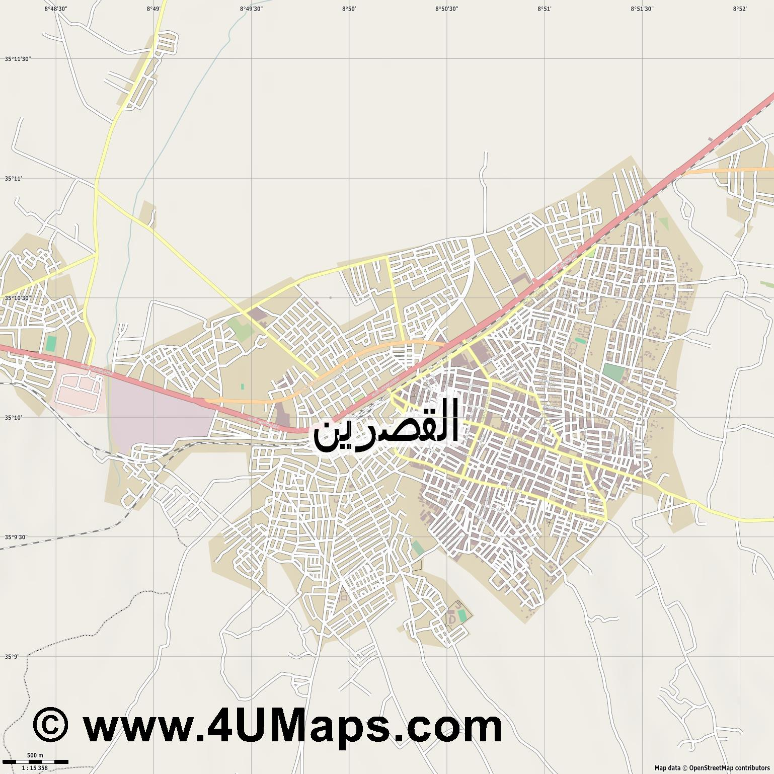 القصرين  Kasserine  jpg ultra high detail preview vector city map