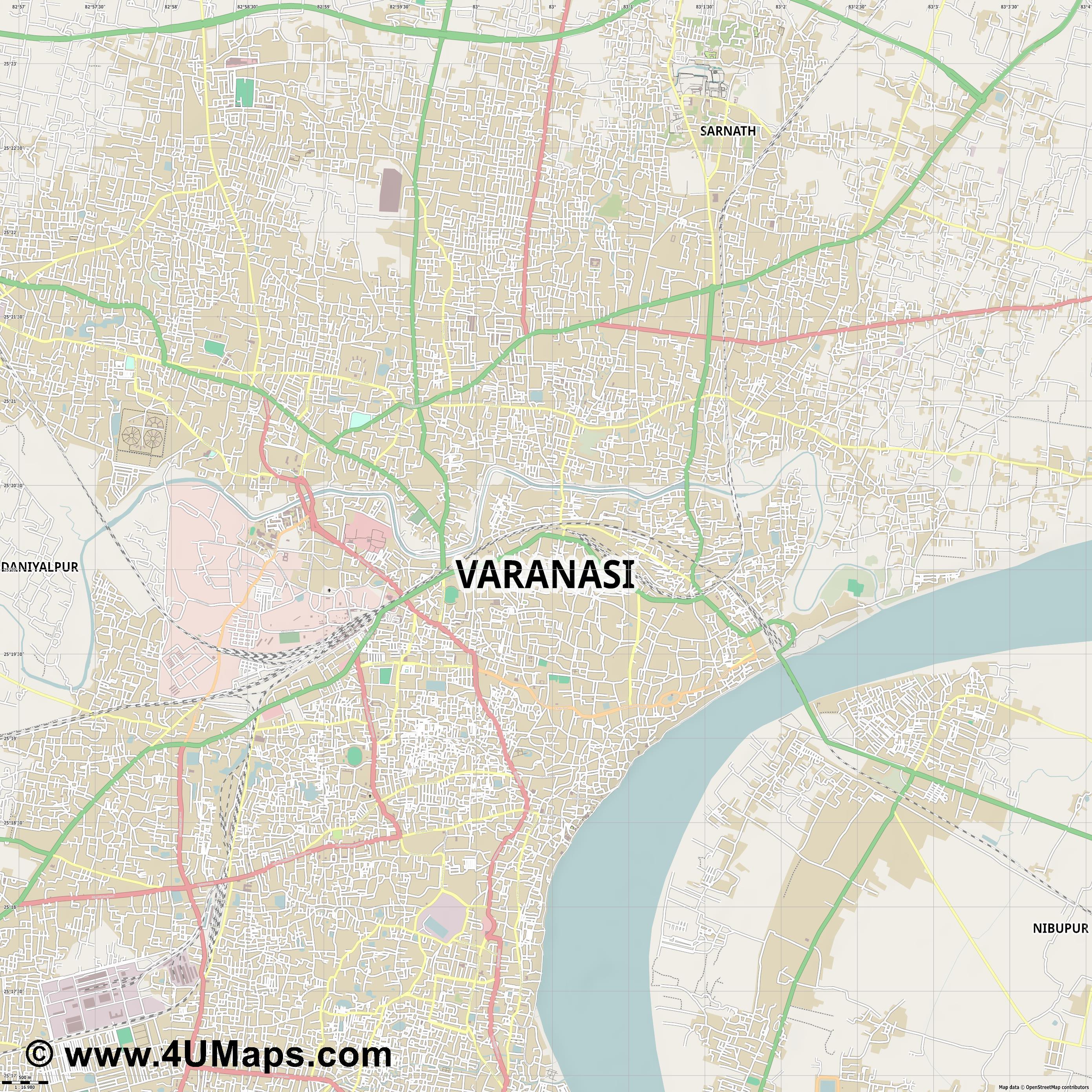Svg Scalable Vector City Map Varanasi - Varanasi map