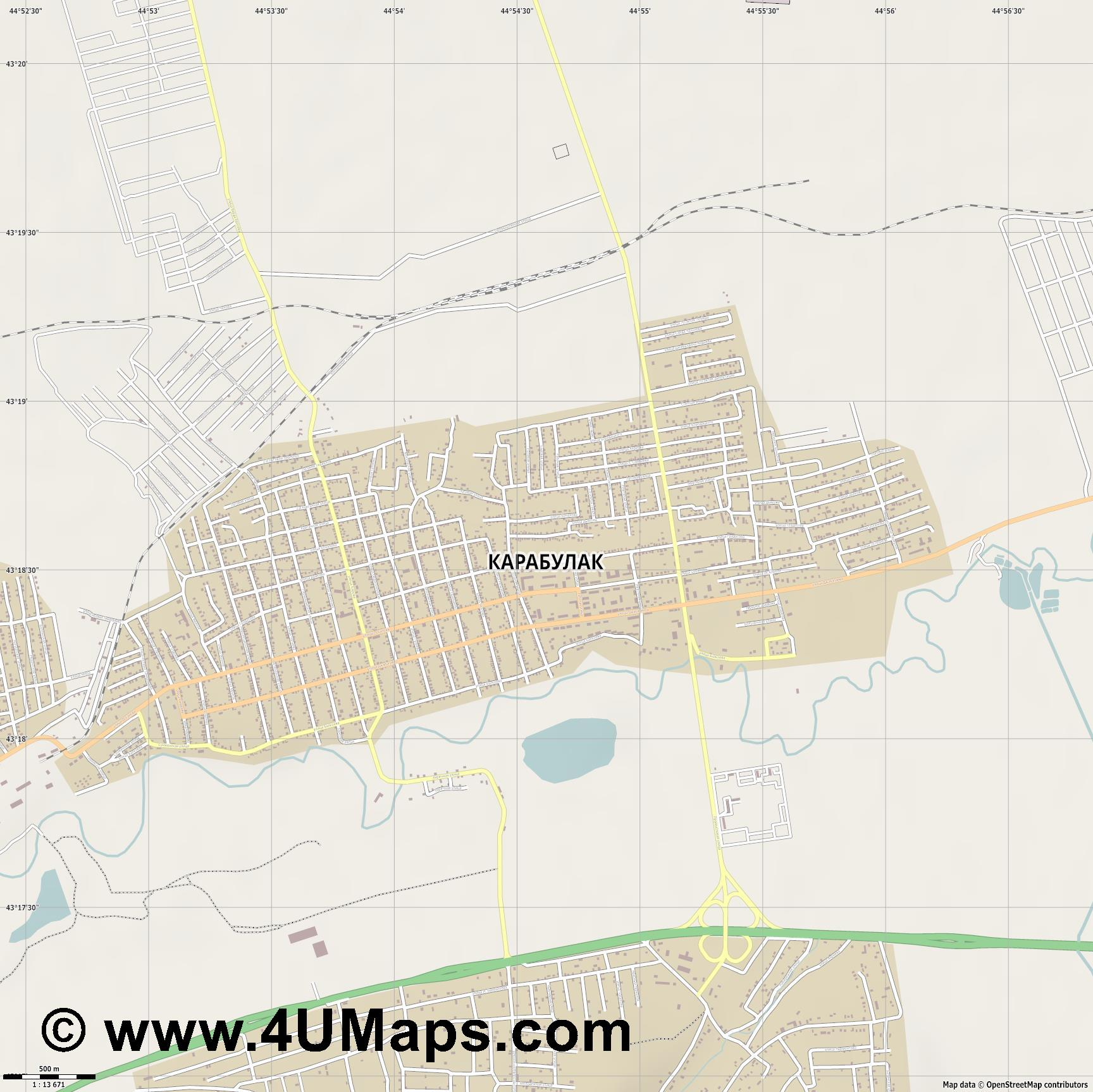 Карабулак Karabulak Karaboulak  jpg ultra high detail preview vector city map