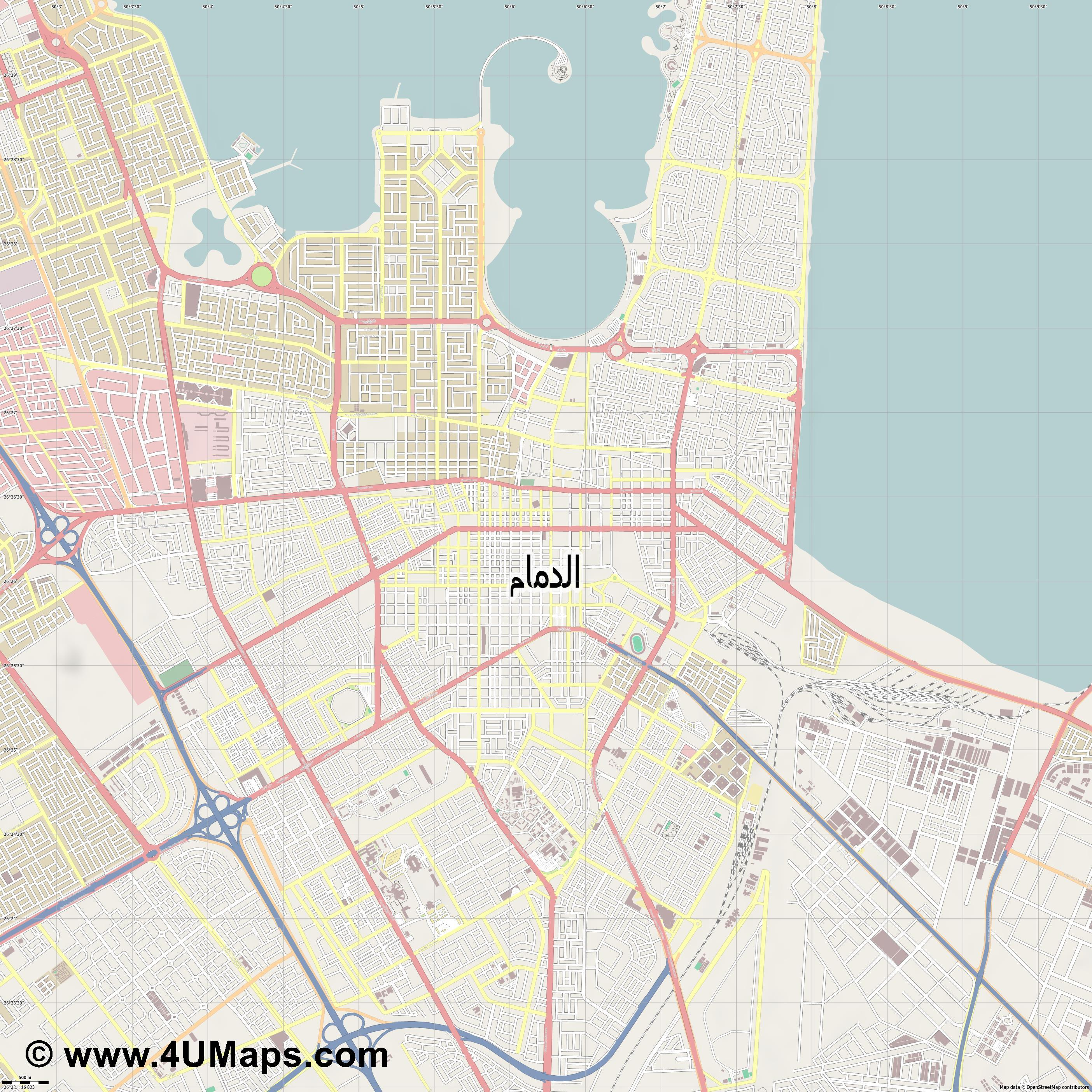 Dammam الدمام  jpg ultra high detail preview vector city map