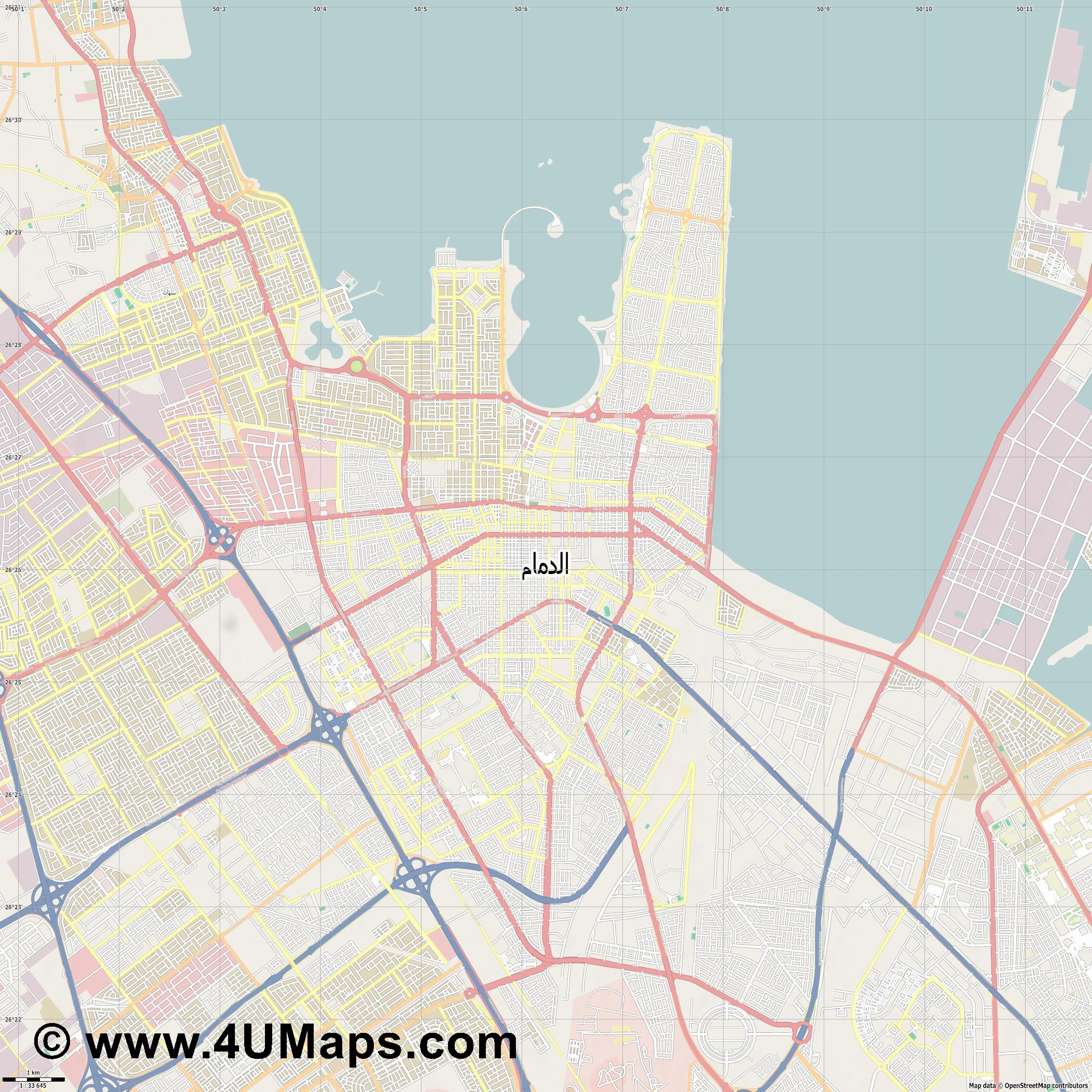 Dammam الدمام  jpg high detail, large area preview vector city map