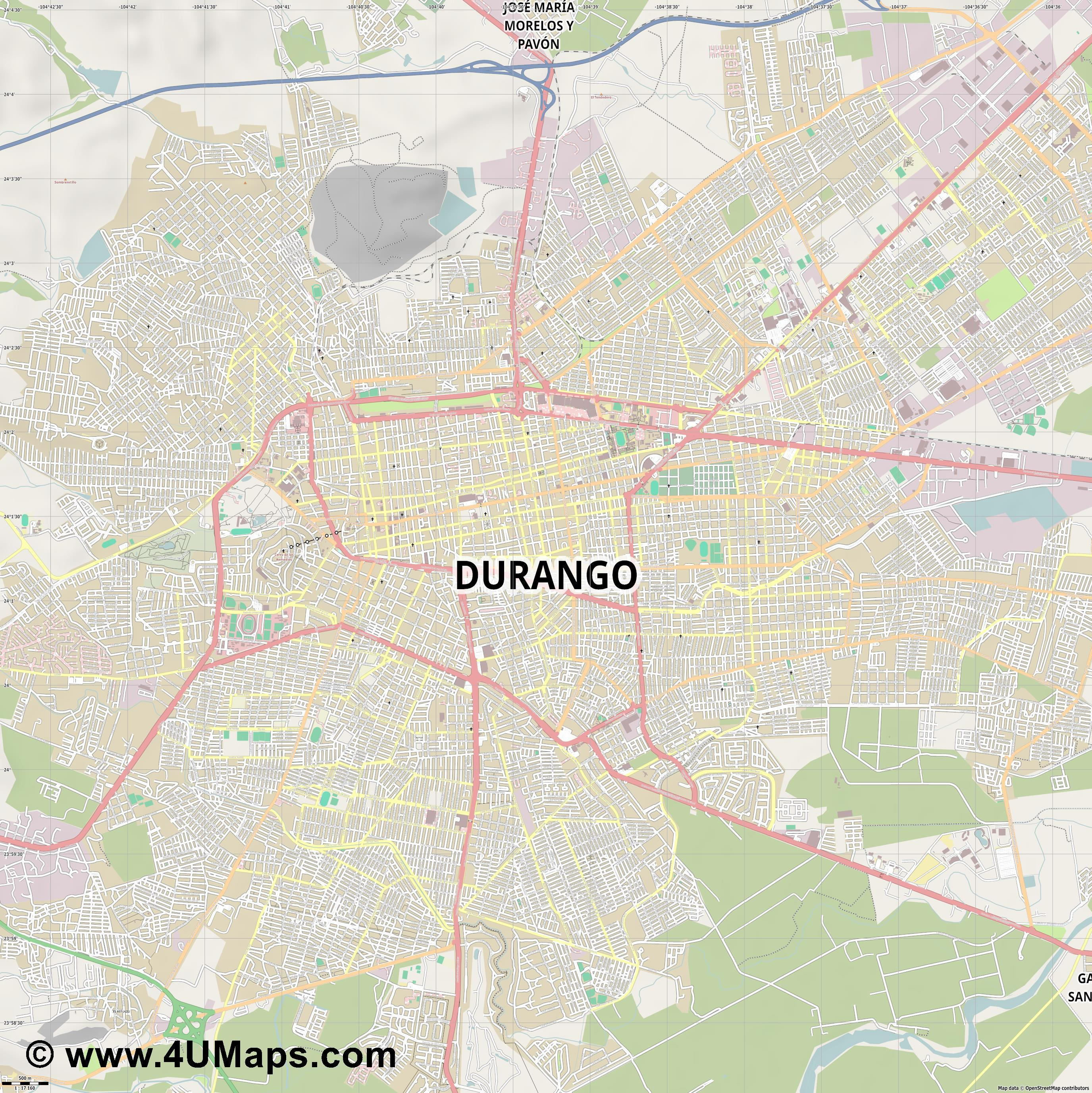 Durango Victoria de Durango  jpg ultra high detail preview vector city map