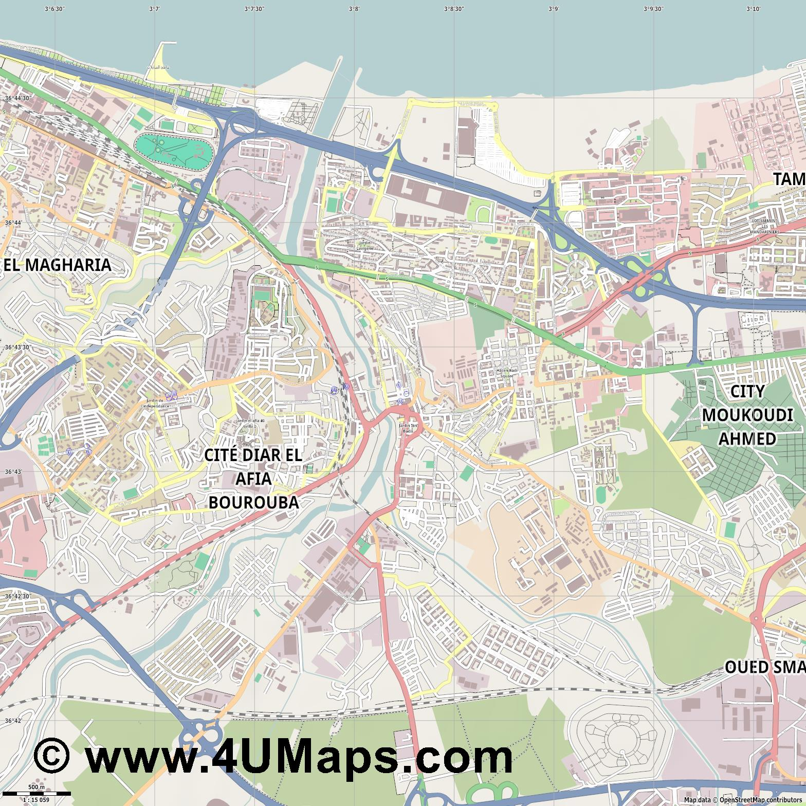 El Harrach  jpg ultra high detail preview vector city map