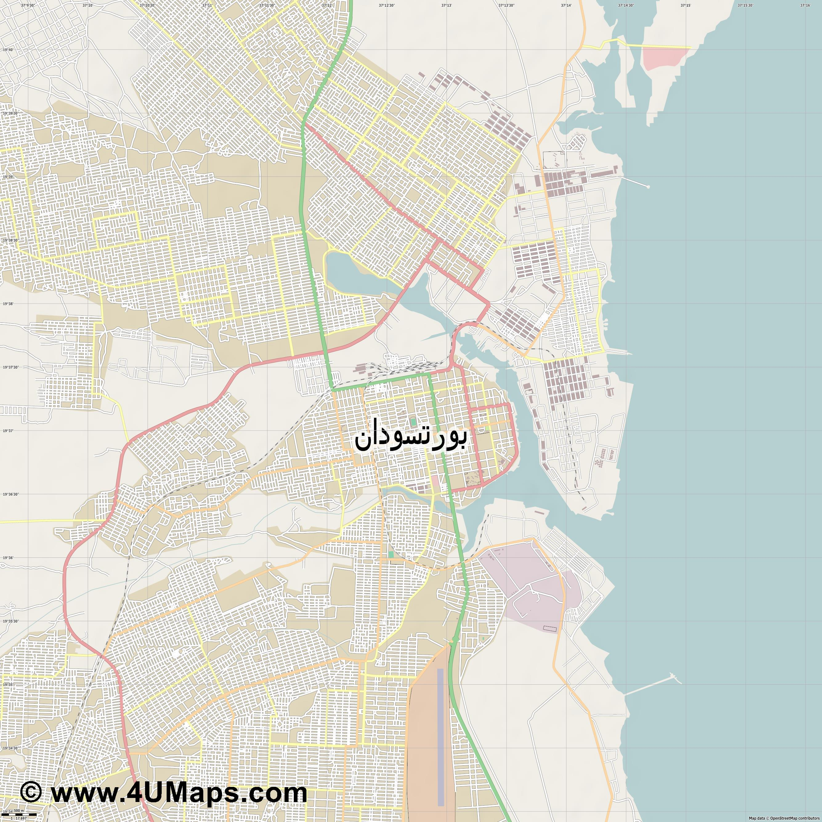بورتسودان Port Sudan Port Soudan Porto Sudàn Bur Sudan  jpg ultra high detail preview vector city map