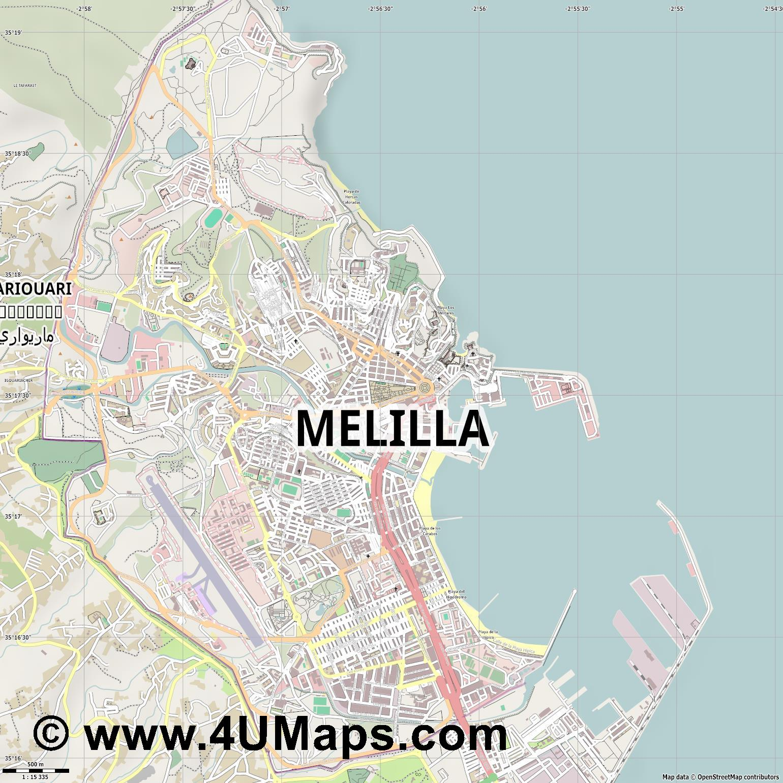 Melilla Spain Map.Pdf Svg Scalable Vector City Map Melilla